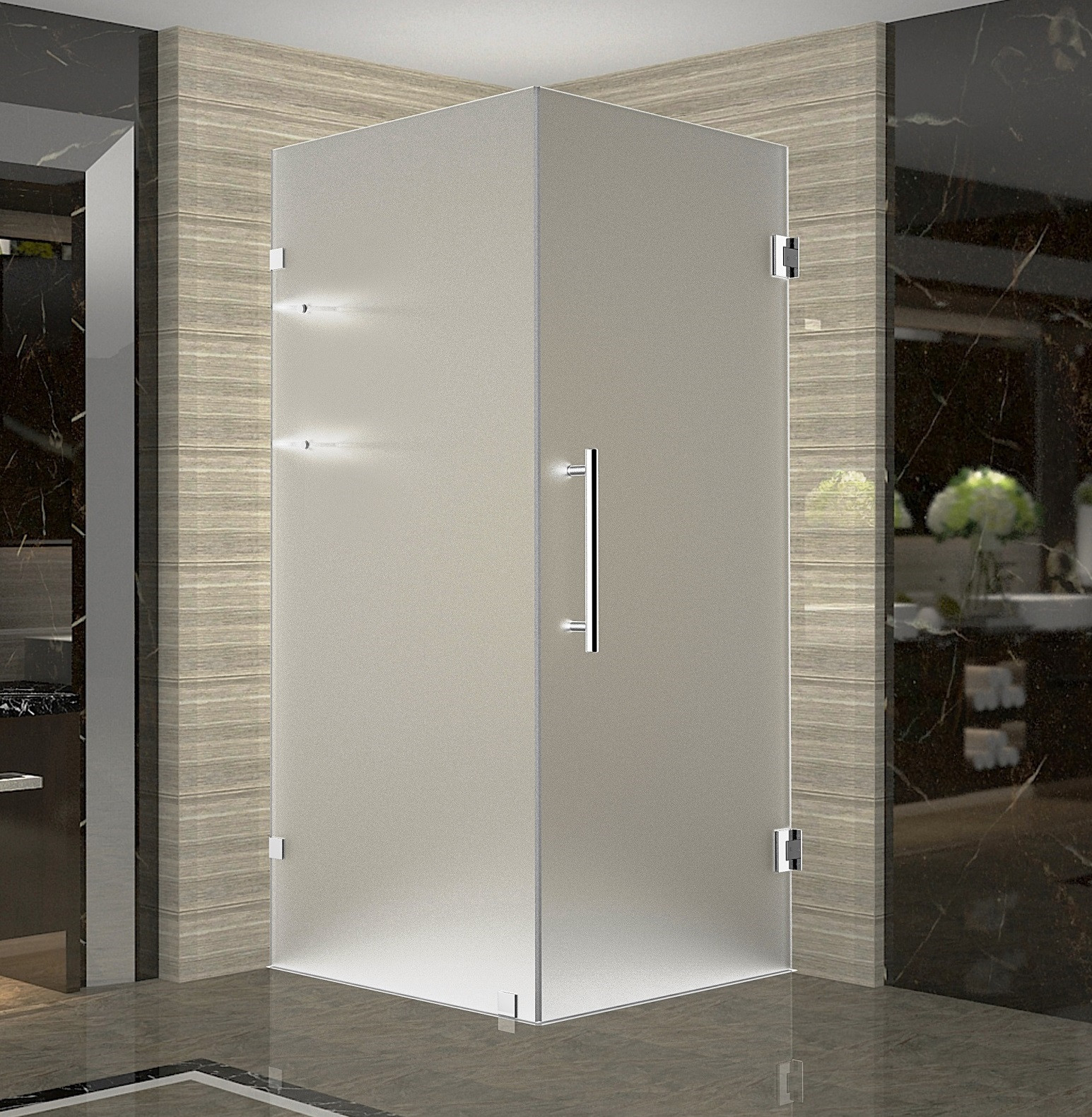 Aston SEN993F-SS-32-10 Stainless Steel Completely Frameless Frosted Shower Enclosure with Shelves