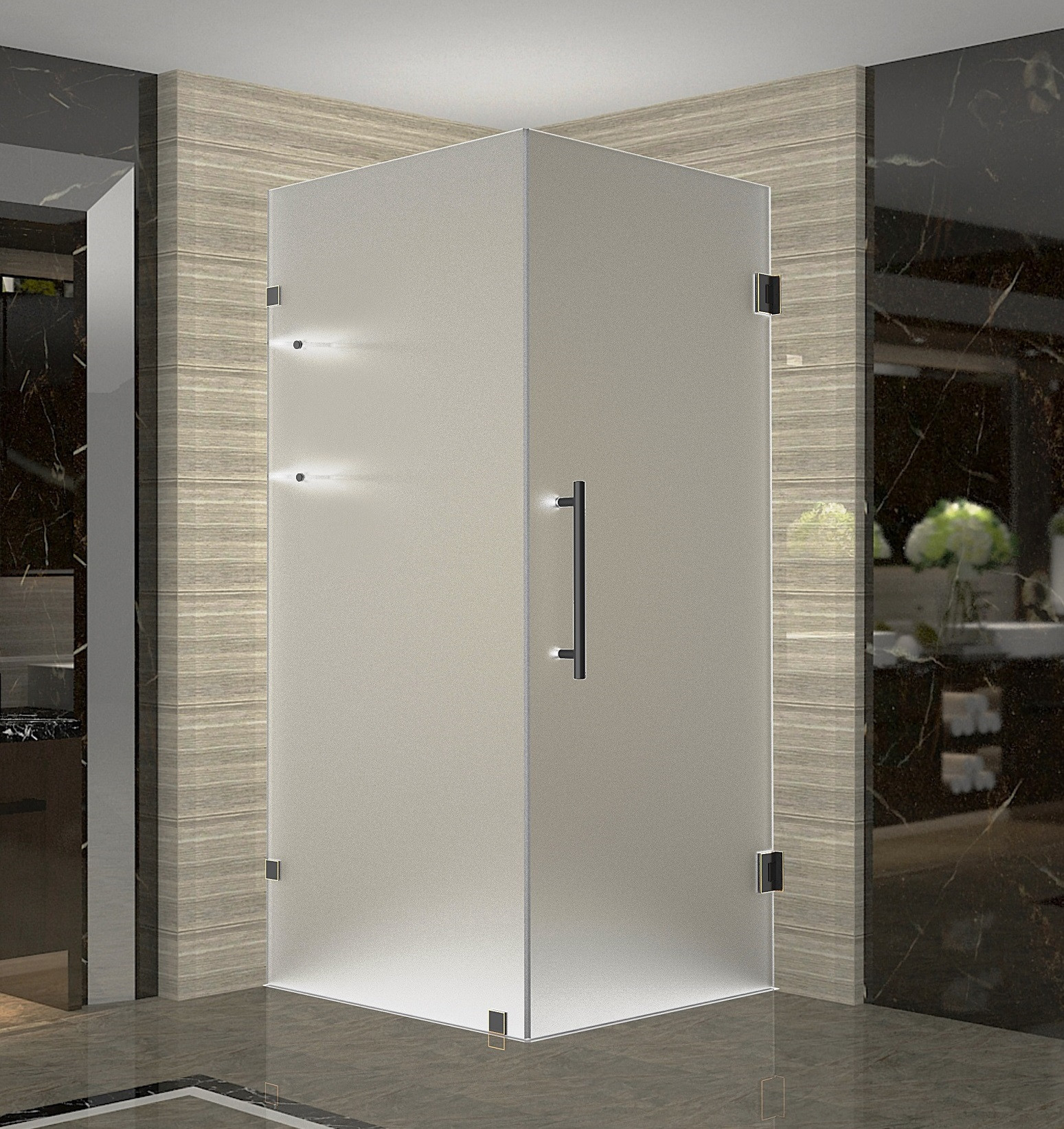 Aston SEN993F-ORB-38-10 Oil Rubbed Bronze Frameless Frosted Shower Enclosure with Shelves