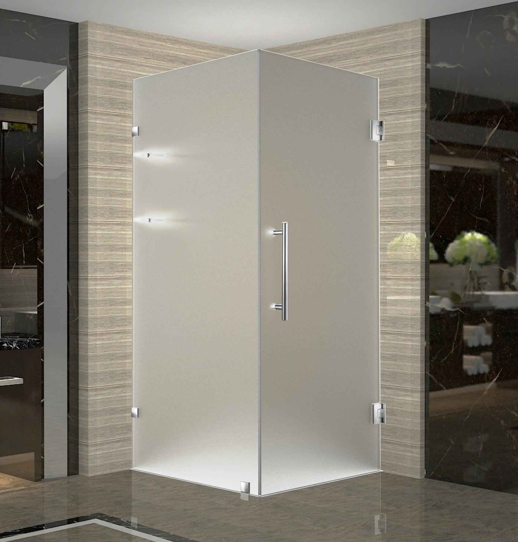 Aston SEN993F-SS-34-10 Stainless Steel Completely Frameless Square Shower Enclosure with Shelves
