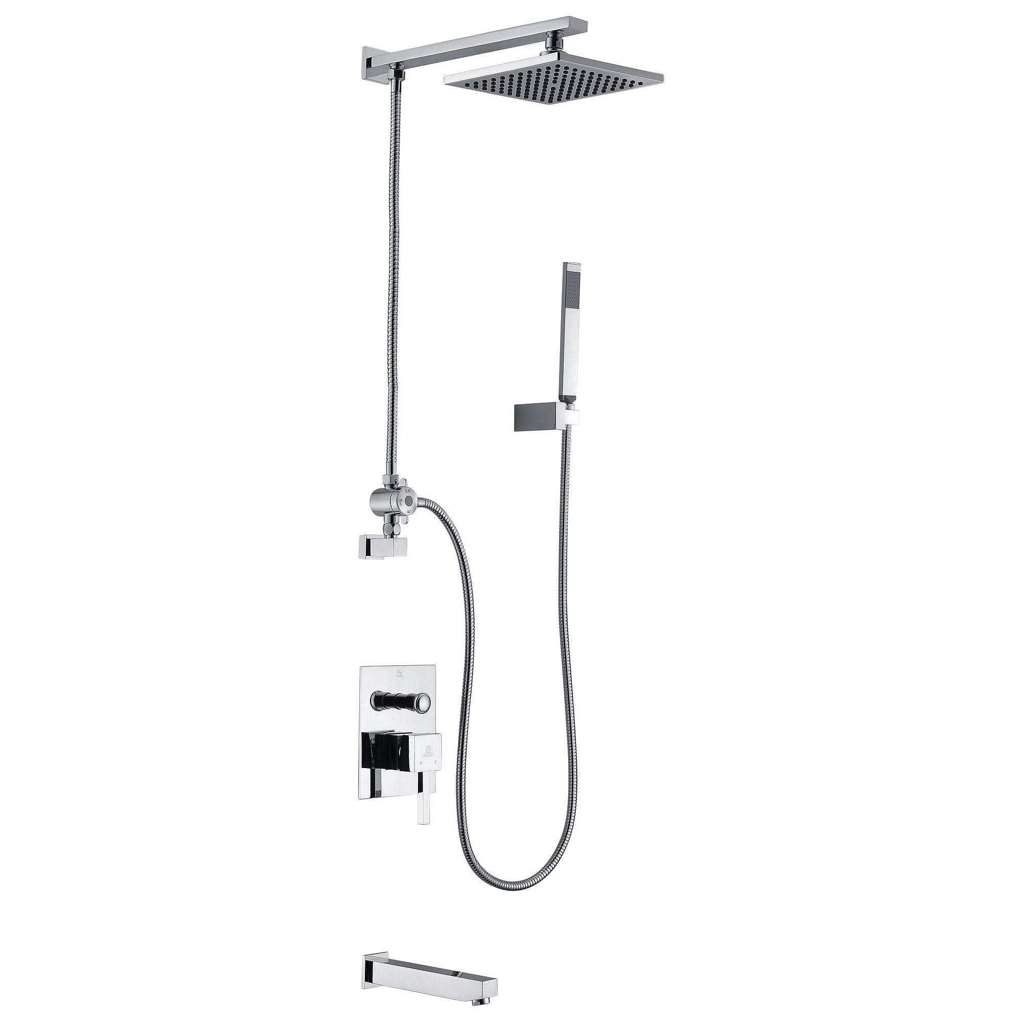 ANZZI SH-AZ013 Polished Chrome Byne Tub & Shower Faucet With Sprayer Wand