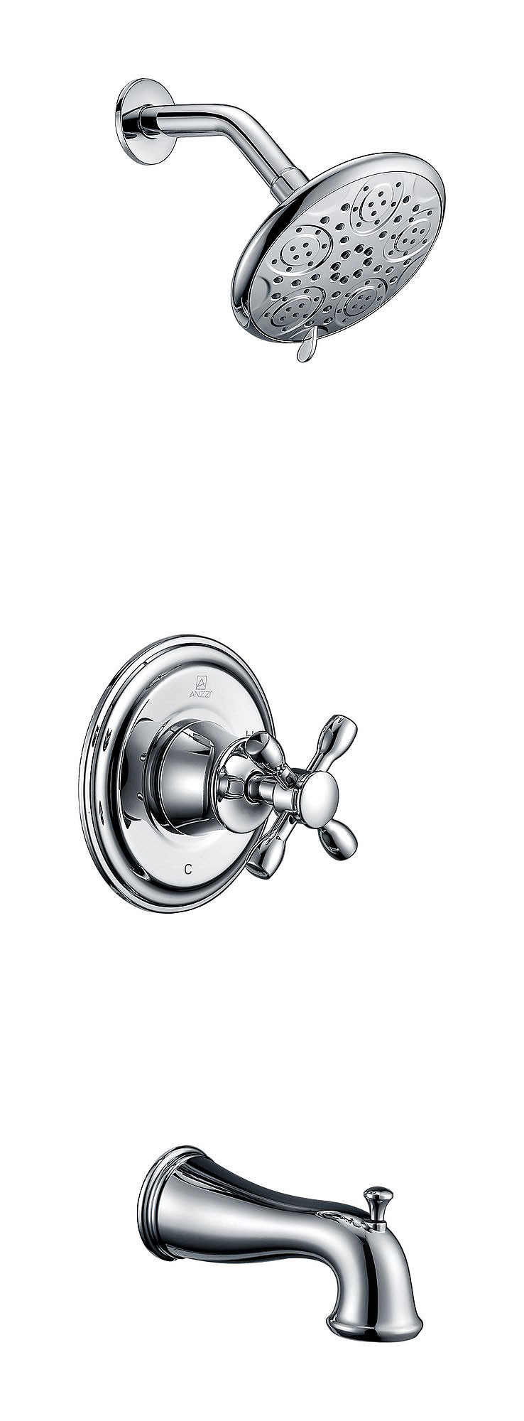 ANZZI SH-AZ033 Mesto Cross Handle Tub and Shower Faucet In Polished Chrome
