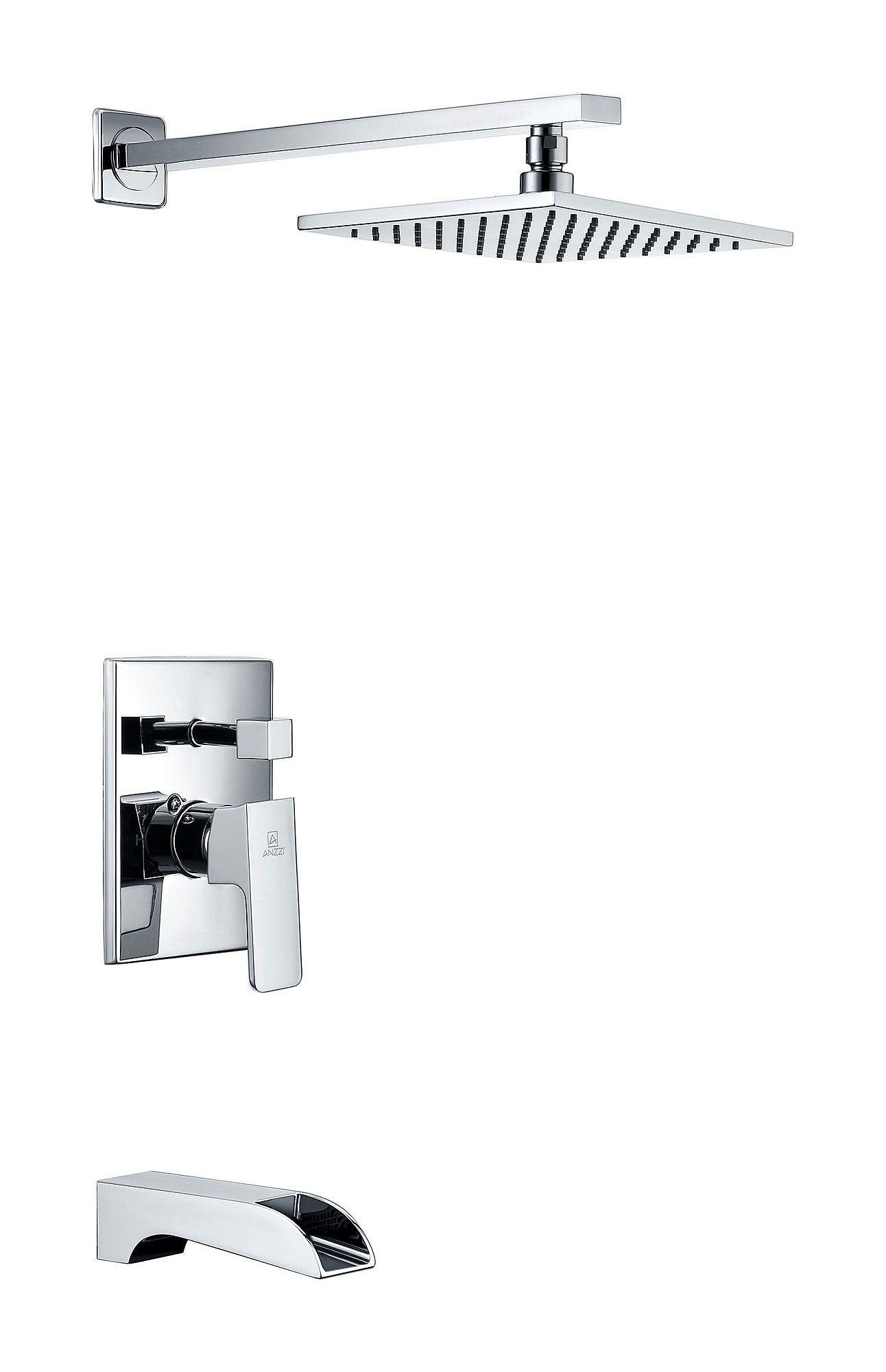 ANZZI SH-AZ037 Mezzo Solid Brass Tub and Shower Faucet In Polished Chrome