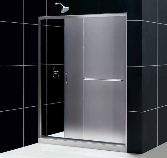 """Dreamline SHDR-0960720-FR Frosted 56 to 60"""" Frameless Sliding Shower Door"""