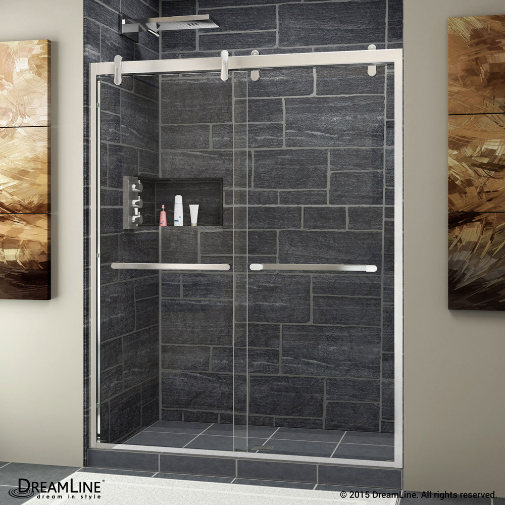 DreamLine SHDR-1560760-08 Cavalier 56 - 60 in. W x 76 in. H Sliding Shower Door in Polished Stainless Steel