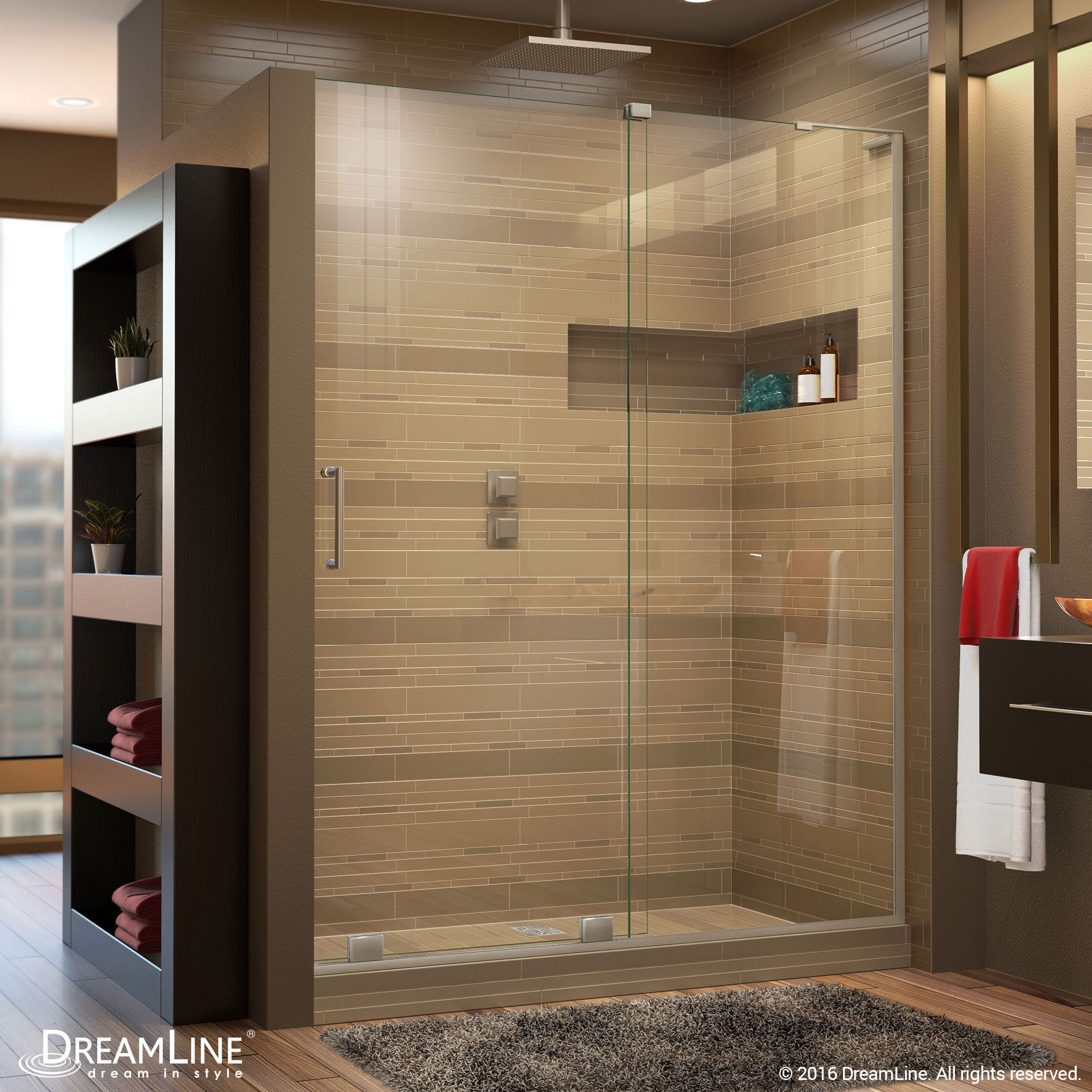 DreamLine SHDR-1948723R-04 Mirage-X Sliding Shower Door in Brushed Nickel With Right-wall Bracket