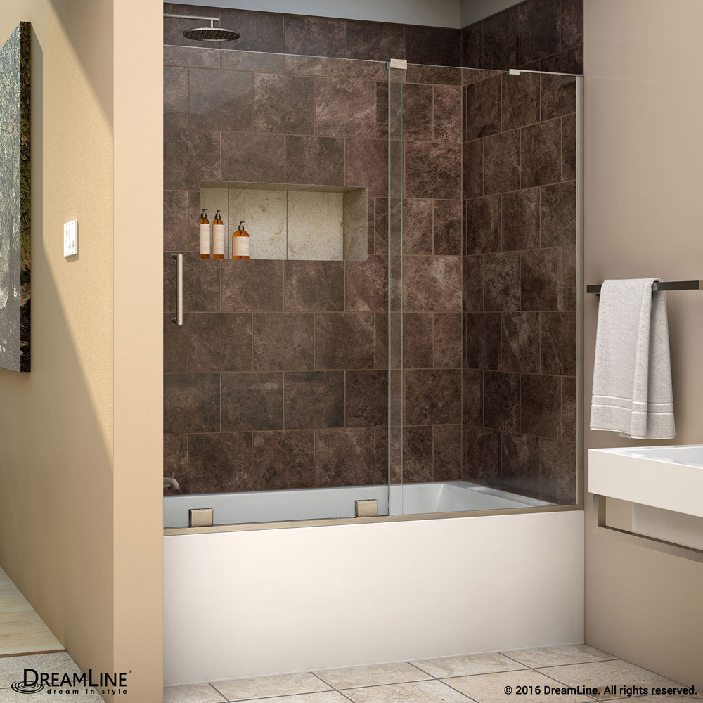 DreamLine SHDR-1960580R-04 Mirage-X Sliding Tub Door in Brushed Nickel With Right-wall Bracket