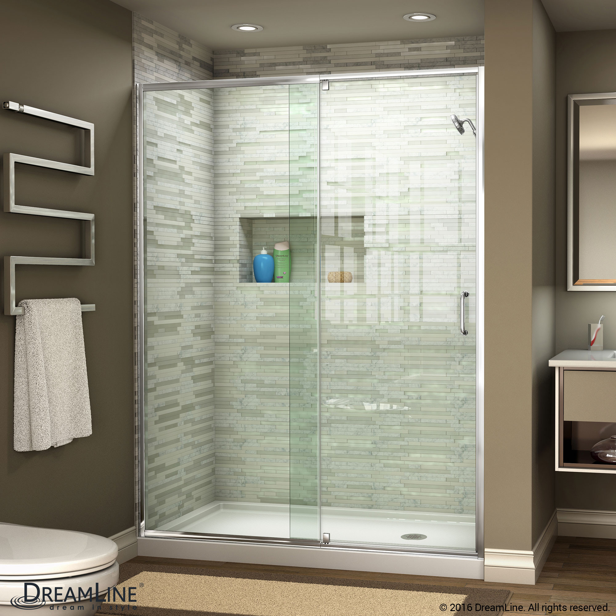 DreamLine SHDR-22607200-01 Flex 56 - 60 in. W x 72 in. H Pivot Shower Door in Chrome