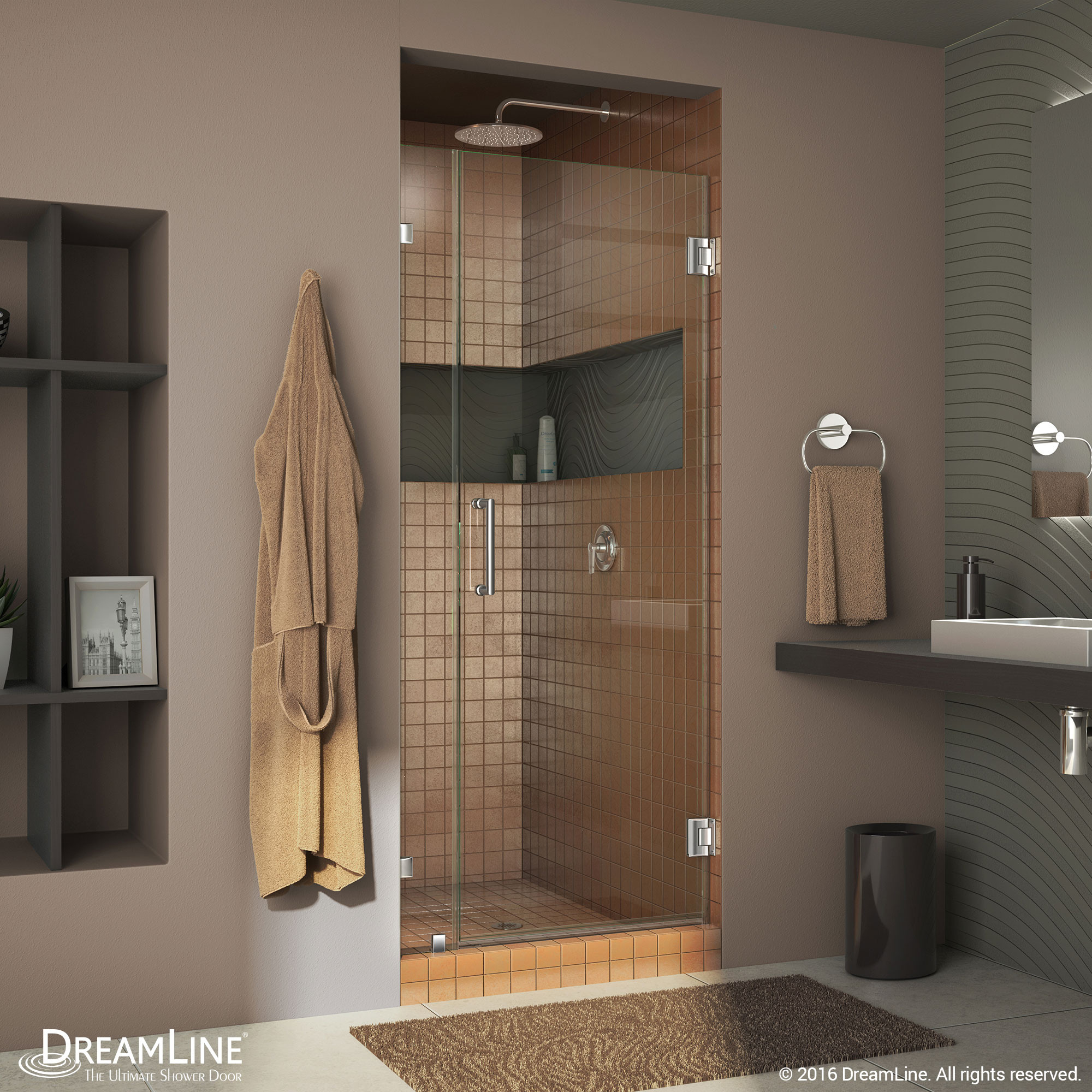 "Dreamline SHDR-23347210-01 Chrome Radiance 34"" Frameless Hinged Shower Door"