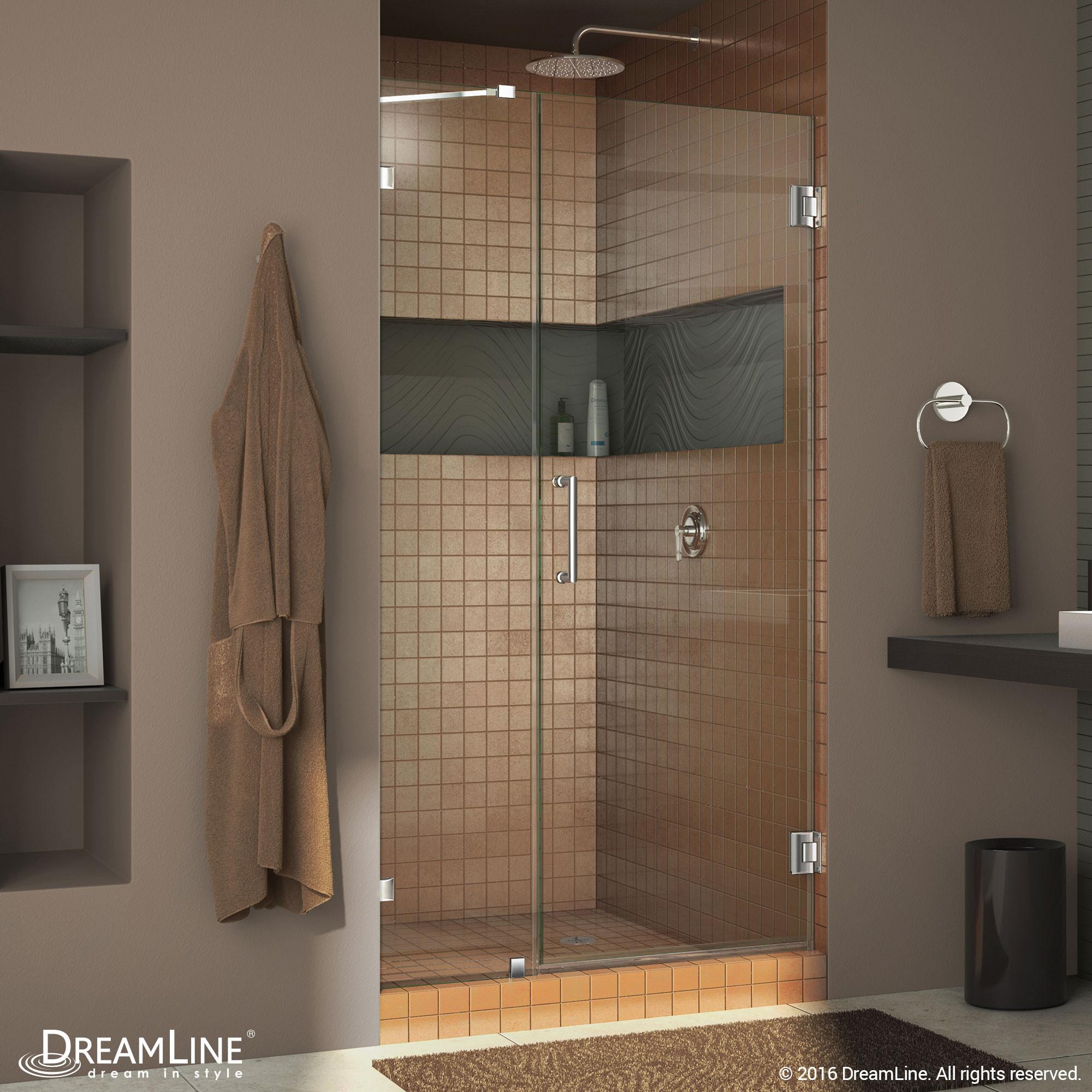 """Dreamline SHDR-23507210-01 Chrome Radiance 50"""" Frameless Hinged Shower Door"""
