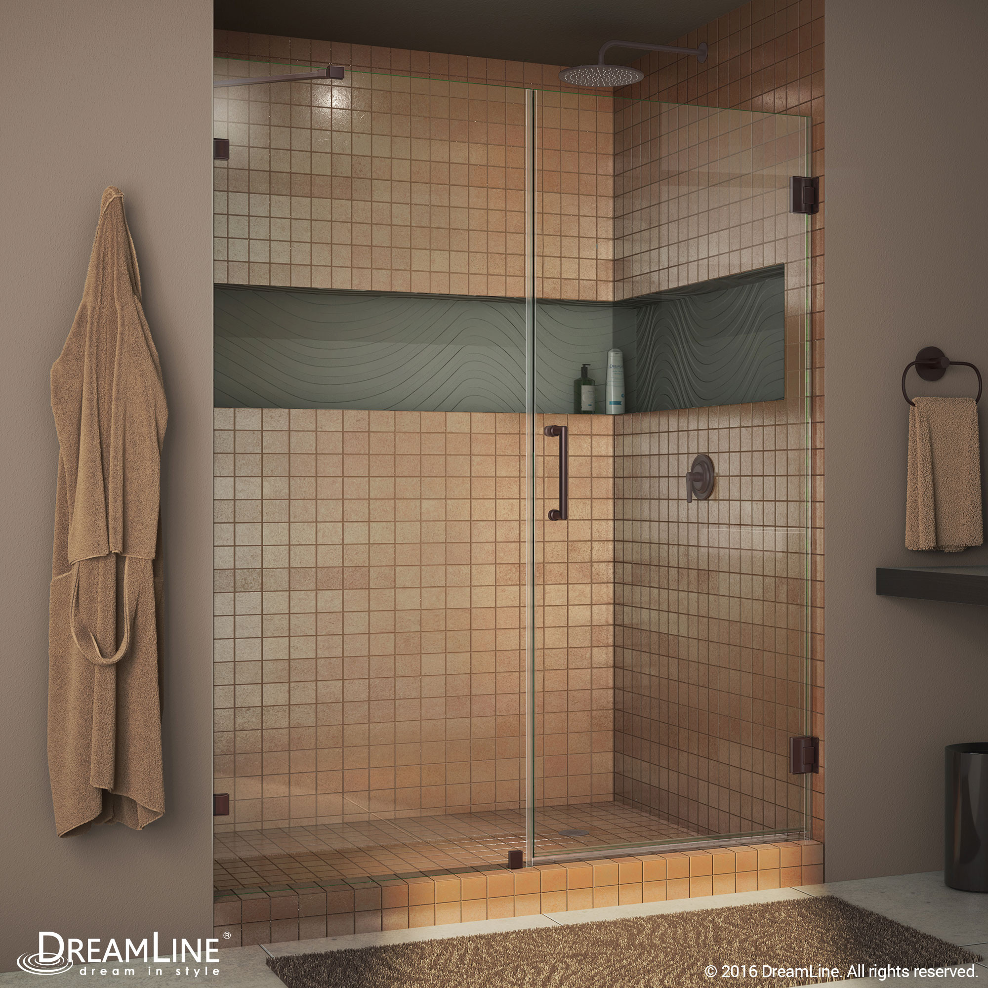 "DreamLine SHDR-23597210-06 Oil Rubbed Bronze Radiance 59"" Frameless Hinged Clear Shower Door"