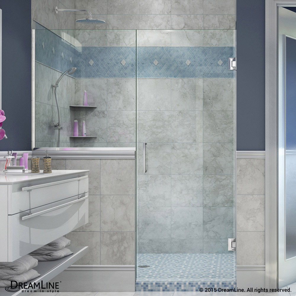 DreamLine SHDR-24242434-01 Unidoor Plus 48 - 48 1/2 in. W x 72 in. H Hinged Shower Door in Chrome