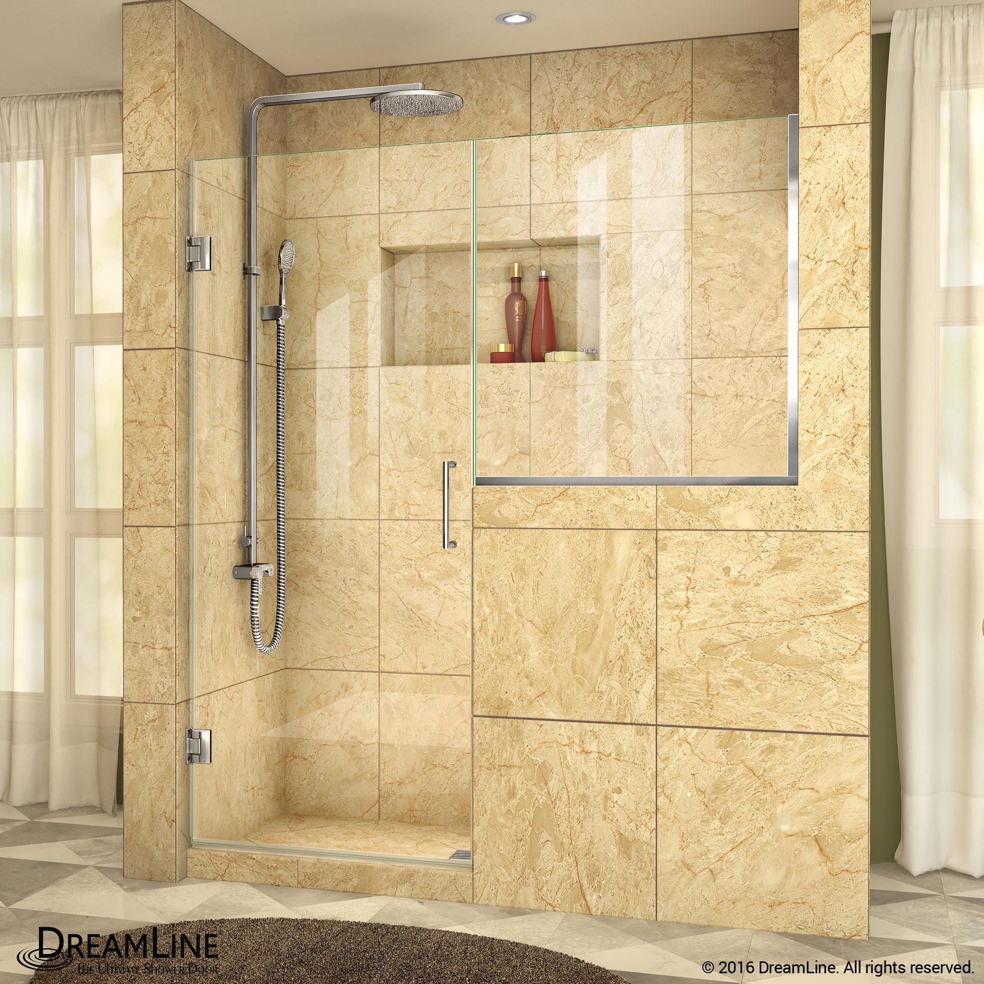 DreamLine SHDR-24273034-01 Unidoor Plus 57 - 57 1/2 in. W x 72 in. H Hinged Shower Door in Chrome