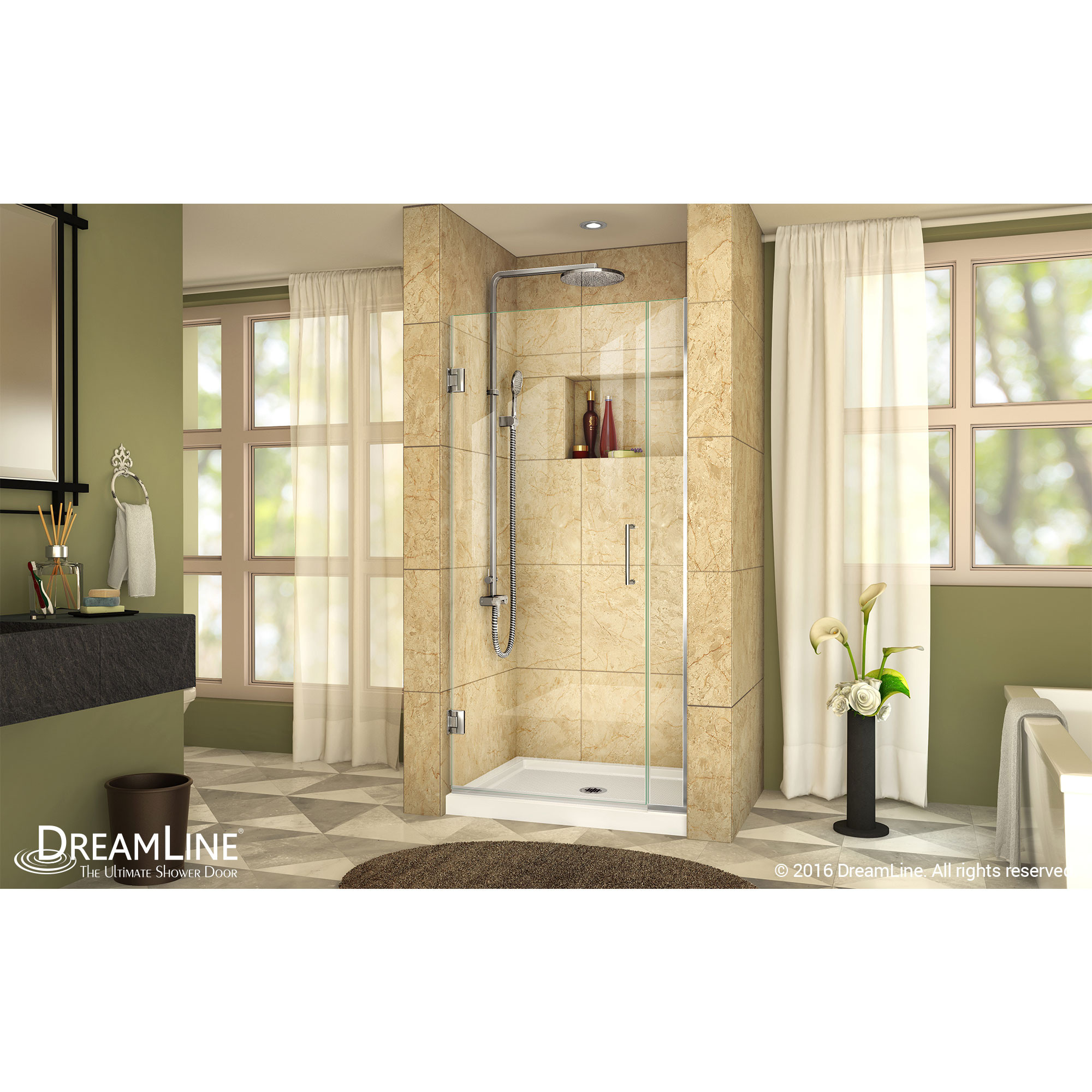 Dreamline SHDR-242907210-01 - UnidoorPlus Shower Door 39 30D 6P - Chrome Finish Hardware WB