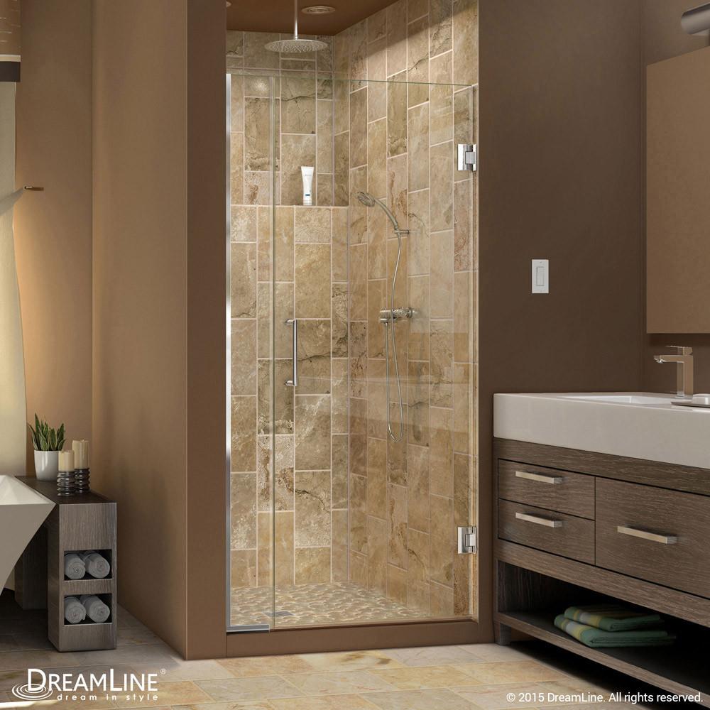 DreamLine SHDR-243157210-01 Unidoor Plus Min 31-1/2 in. Hinged Shower Door In Chrome Hardware