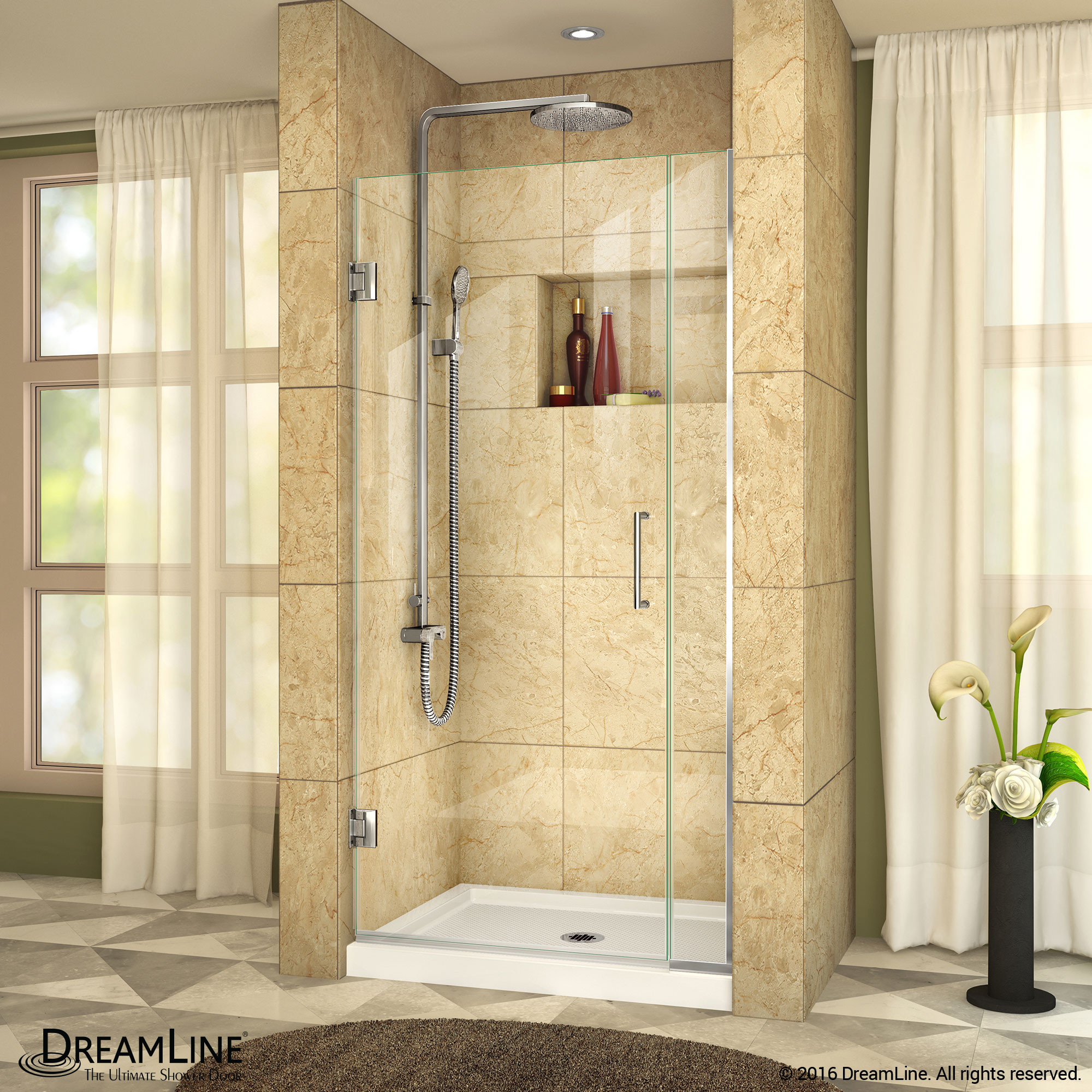 DreamLine SHDR-243407210-01 Unidoor Plus Hinged Shower Door In Chrome Hardware