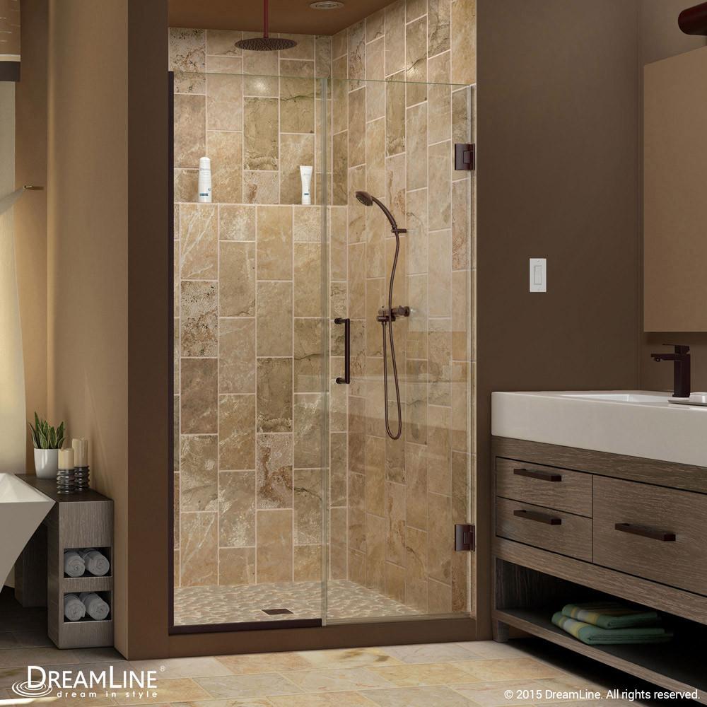 DreamLine SHDR-244407210-06 Unidoor Plus Hinged Shower Door In Oil Rubbed Bronze Hardware