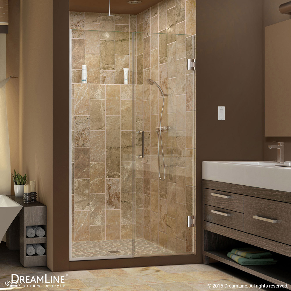 DreamLine SHDR-245107210-04 Unidoor Plus Min 51 in. Hinged Shower Door In Brushed Nickel Hardware