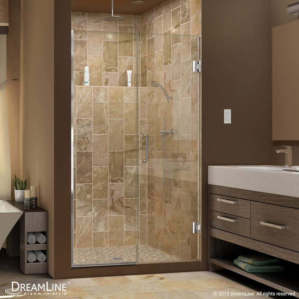 DreamLine SHDR-245357210-01 Unidoor Plus Min 53-1/2 in. Hinged Shower Door In Chrome Hardware