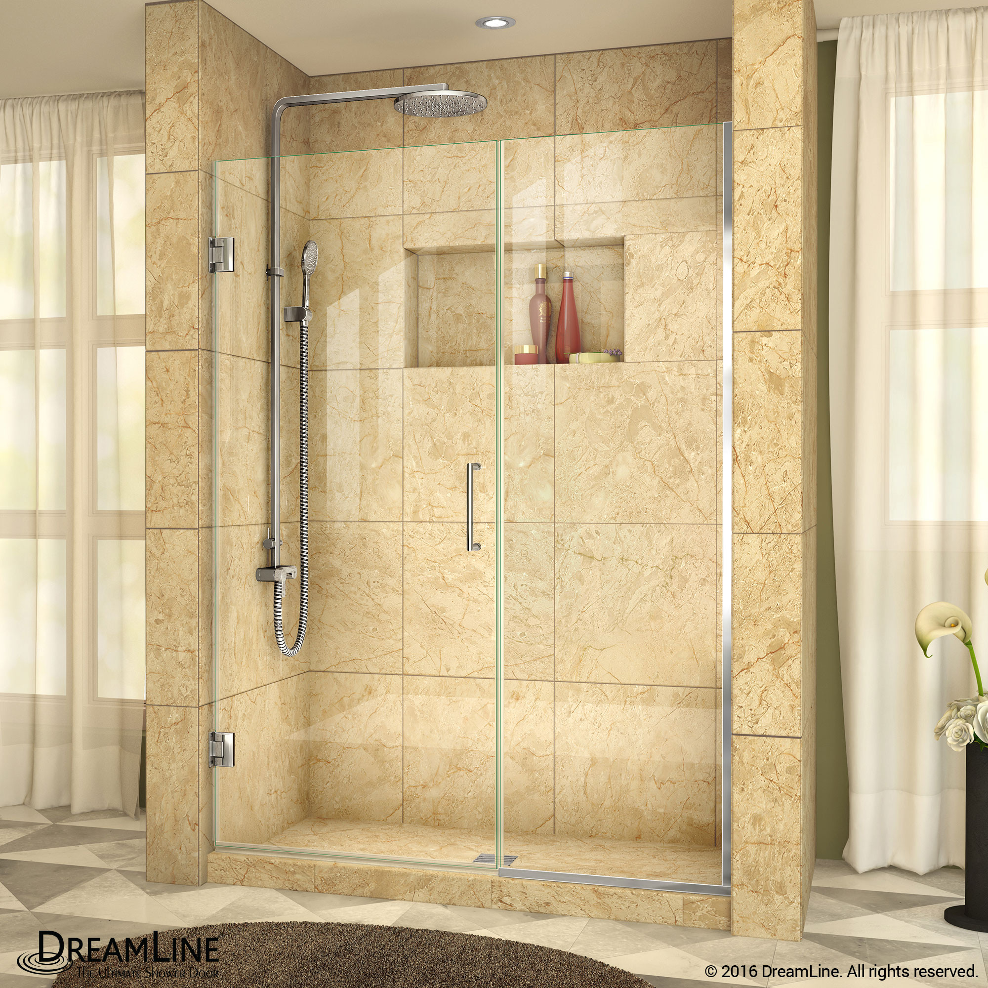 """DreamLine SHDR-245907210-01 Chrome Unidoor Plus 59 to 59-1/2 x 72"""" Hinged Shower Door"""
