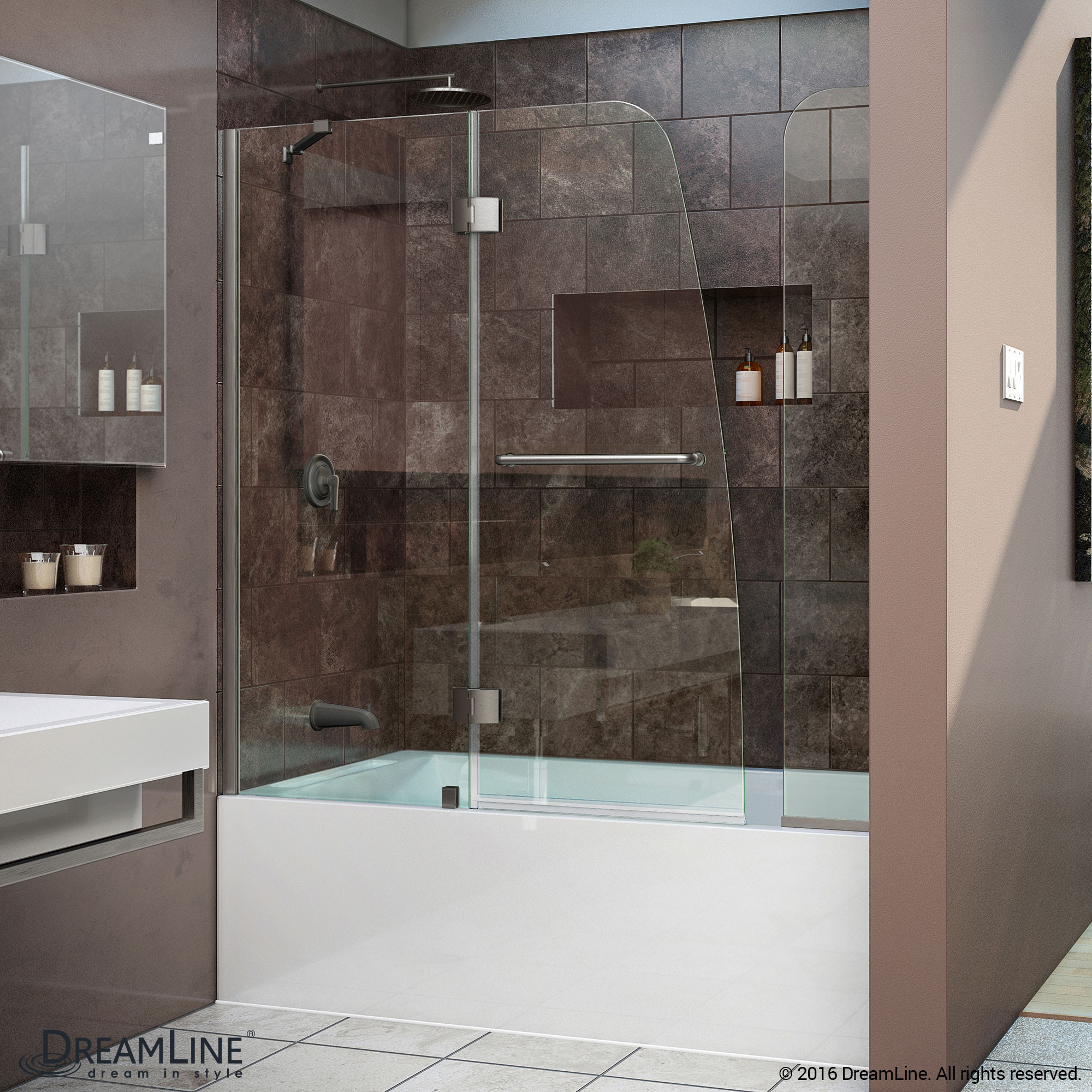 DreamLine SHDR-3148586-EX-04 Brushed Nickel Aqua 56 to 60 x 58 Inch Hinged Tub Door