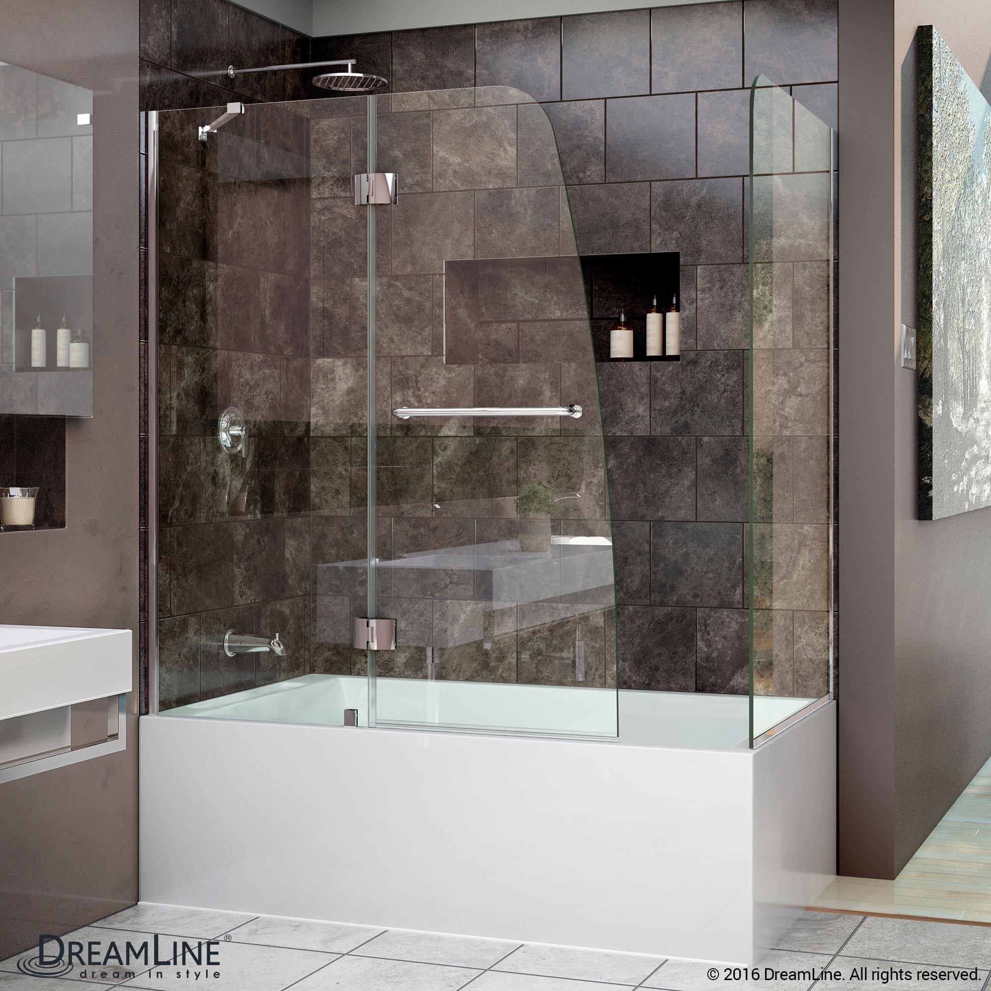 DreamLine SHDR-3148586-RT-01 Chrome Aqua 56 to 60 x 58 Inch Hinged Tub Door