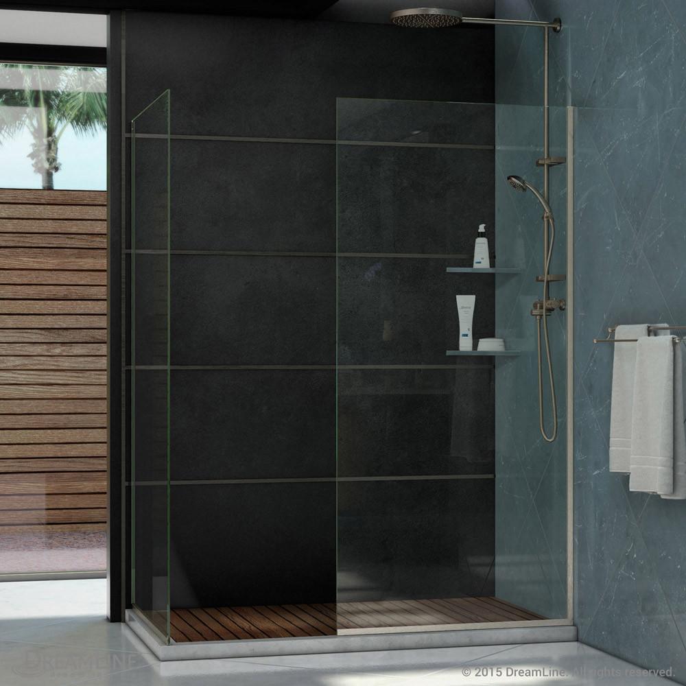 DreamLine SHDR-3230302-04 Brushed Nickel Linea Two Glass Panels 30 x 72 Frameless Shower Door