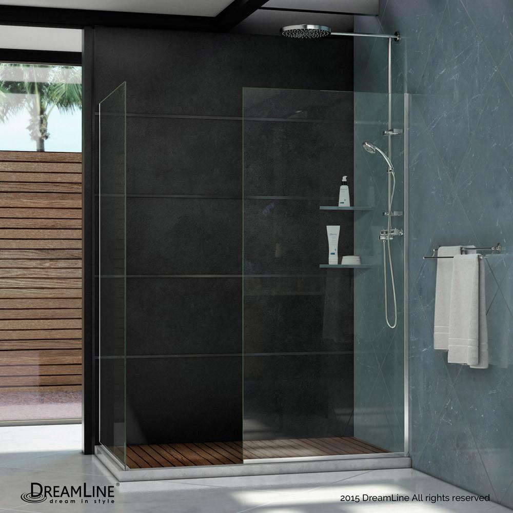DreamLine SHDR-3230342-01 Chrome Linea Two Glass Panels Frameless Shower Door