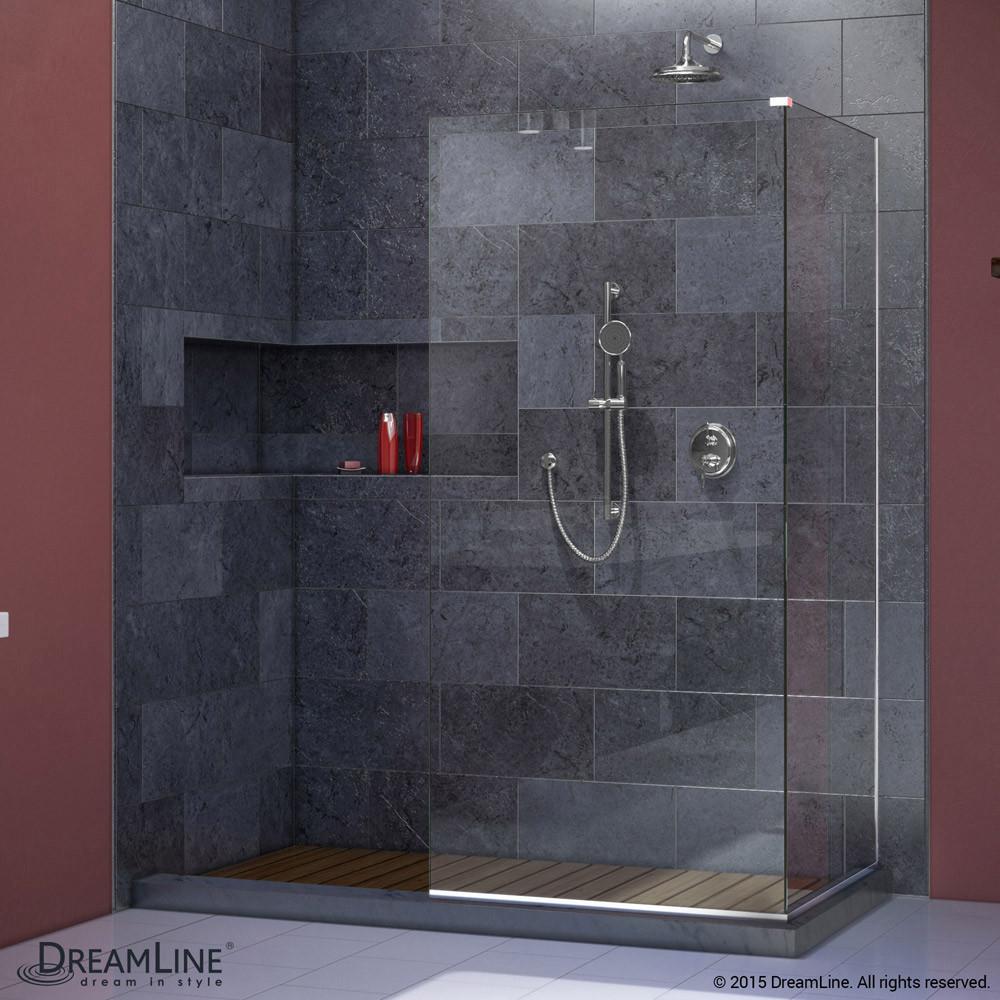 DreamLine SHDR-3230343-01 Chrome Linea Two Attached Glass Panels Frameless Shower Door