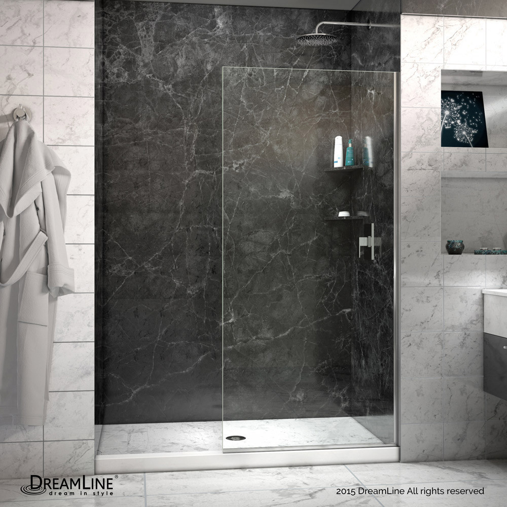 DreamLine SHDR-3230721-04 Brushed Nickel Linea Frameless Shower Door 30 x 72 Open Entry Design
