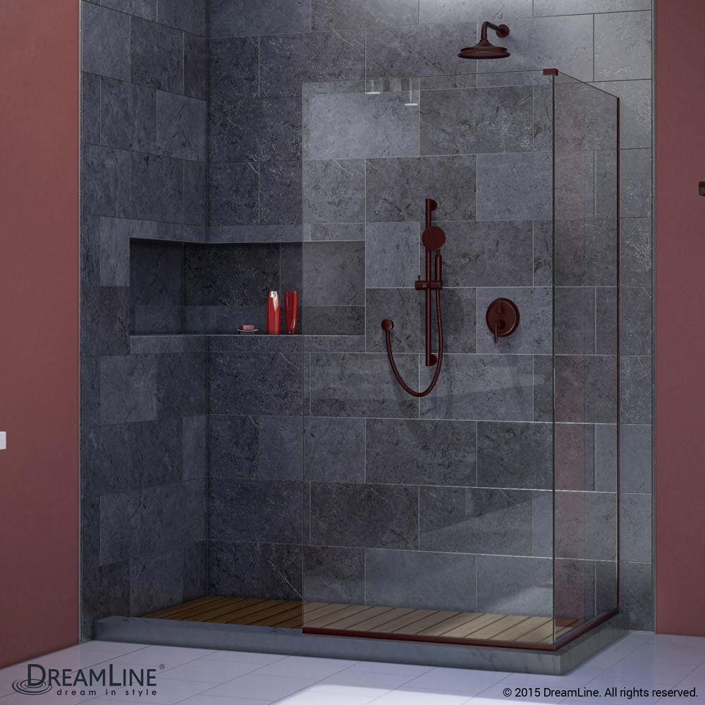 DreamLine SHDR-3234303-06 Oil Rubbed Bronze Linea Two Attached Glass Panels Frameless Shower Door