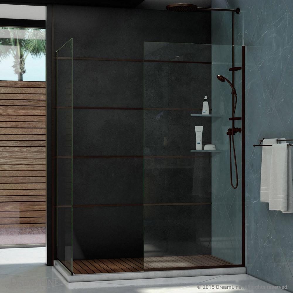 DreamLine SHDR-3234342-06 Oil Rubbed Bronze Linea Two Glass Panels 34 x 72 Frameless Shower Door