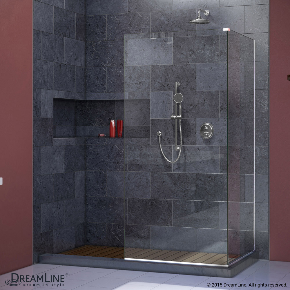 DreamLine SHDR-3234343-01 Chrome Linea Two Attached Glass Panels Frameless Shower Door