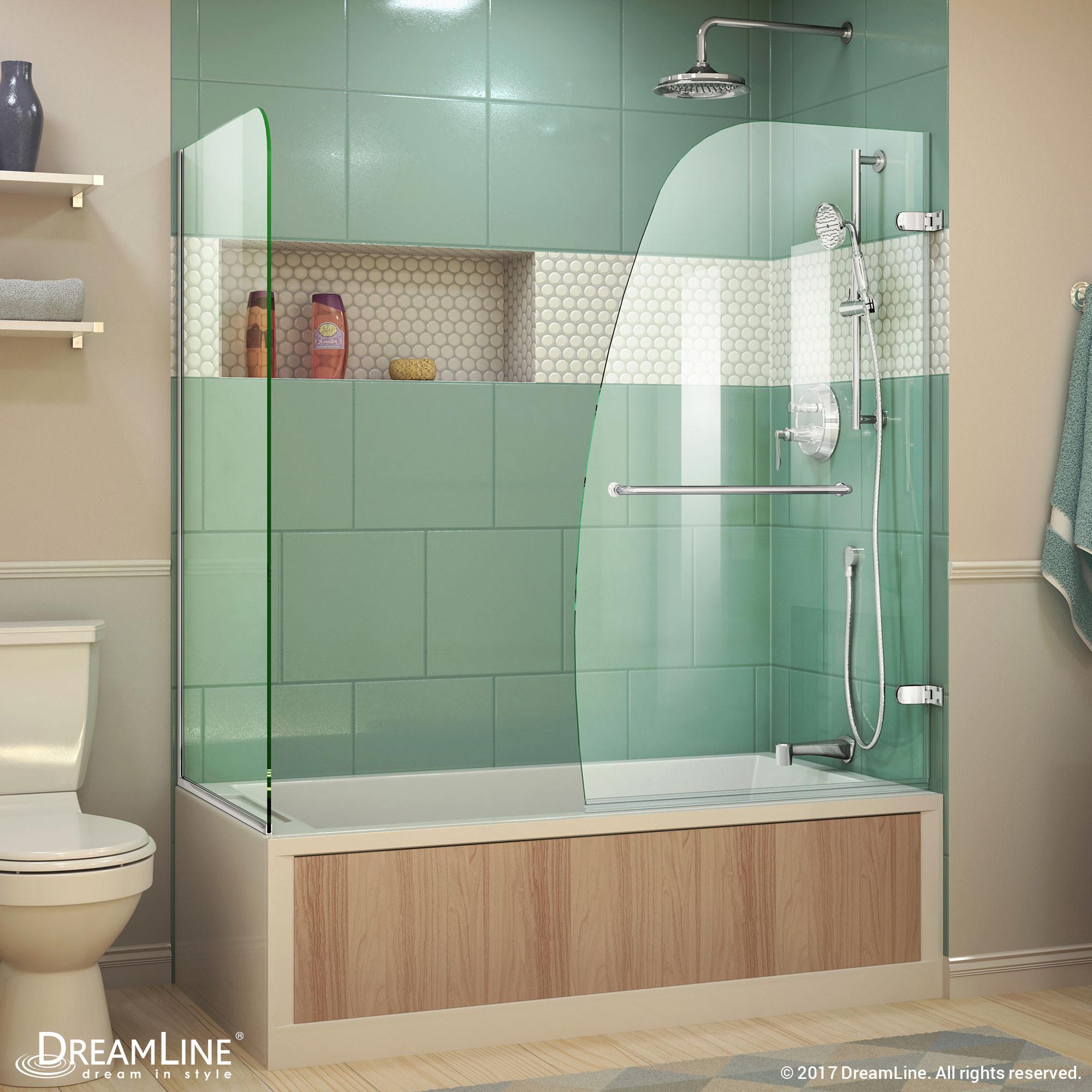 """DreamLine SHDR-3534586-RT-01 Chrome Aqua Uno 56 to 60 x 30 x 58"""" Hinged Tub Door"""