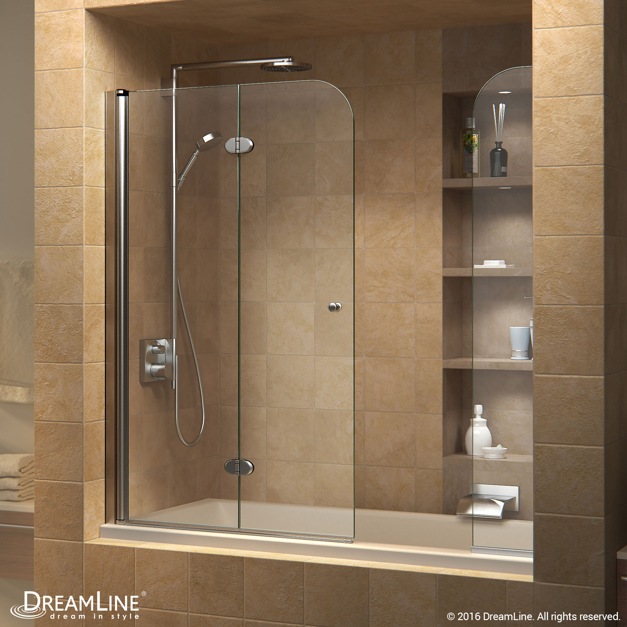 DreamLine SHDR-3636580-EX-01 Chrome Aqua Fold 56 to 60 in. W x 58 in. H Hinged Tub Door