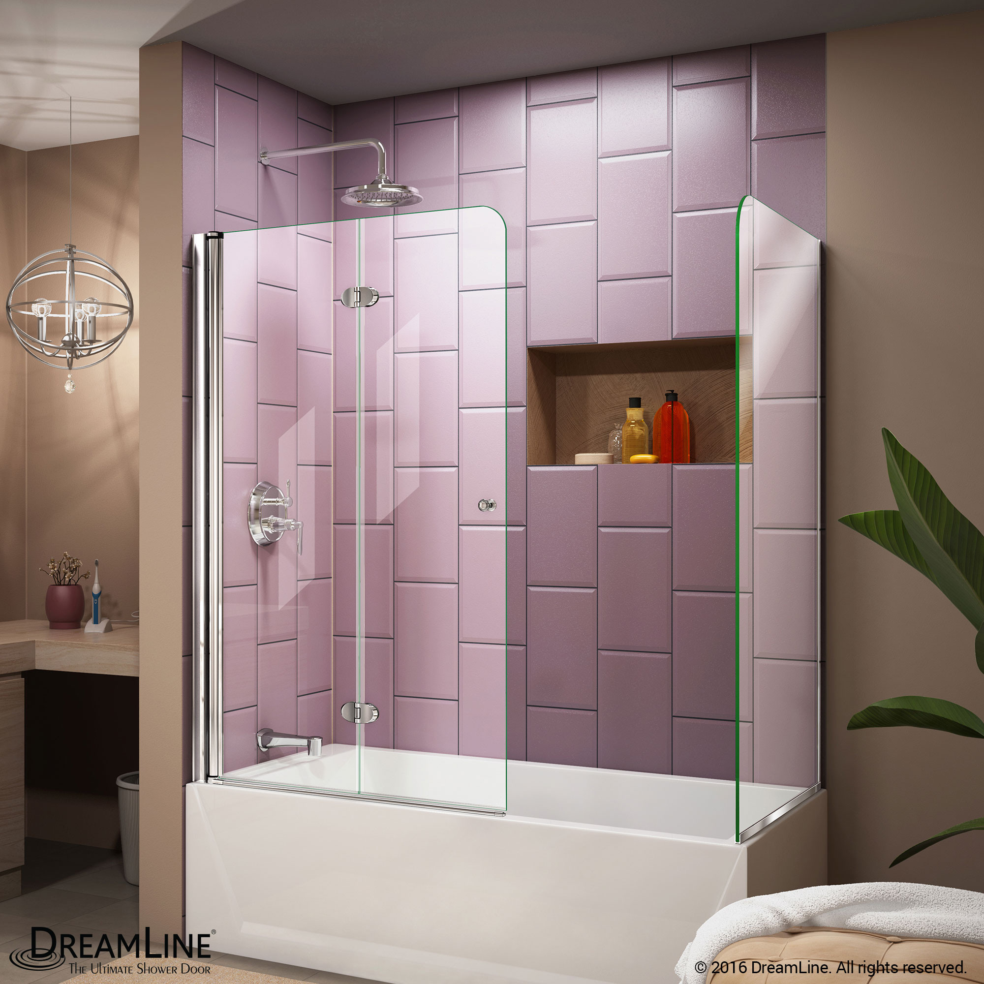 DreamLine SHDR-3636580-RT-01 Aqua Fold 56 to 60 in. W x 30 in. D x 58 in. H Hinged Tub Door