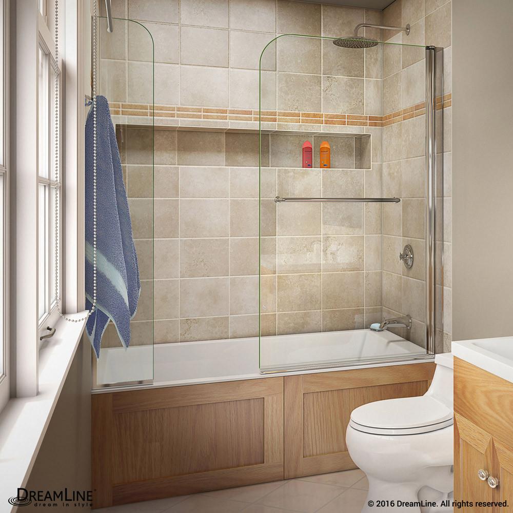 DreamLine SHDR-3734580-EX-01 Aqua Swing 56 - 60 in. W x 58 in. H Swing Tub Door in Chrome Finish