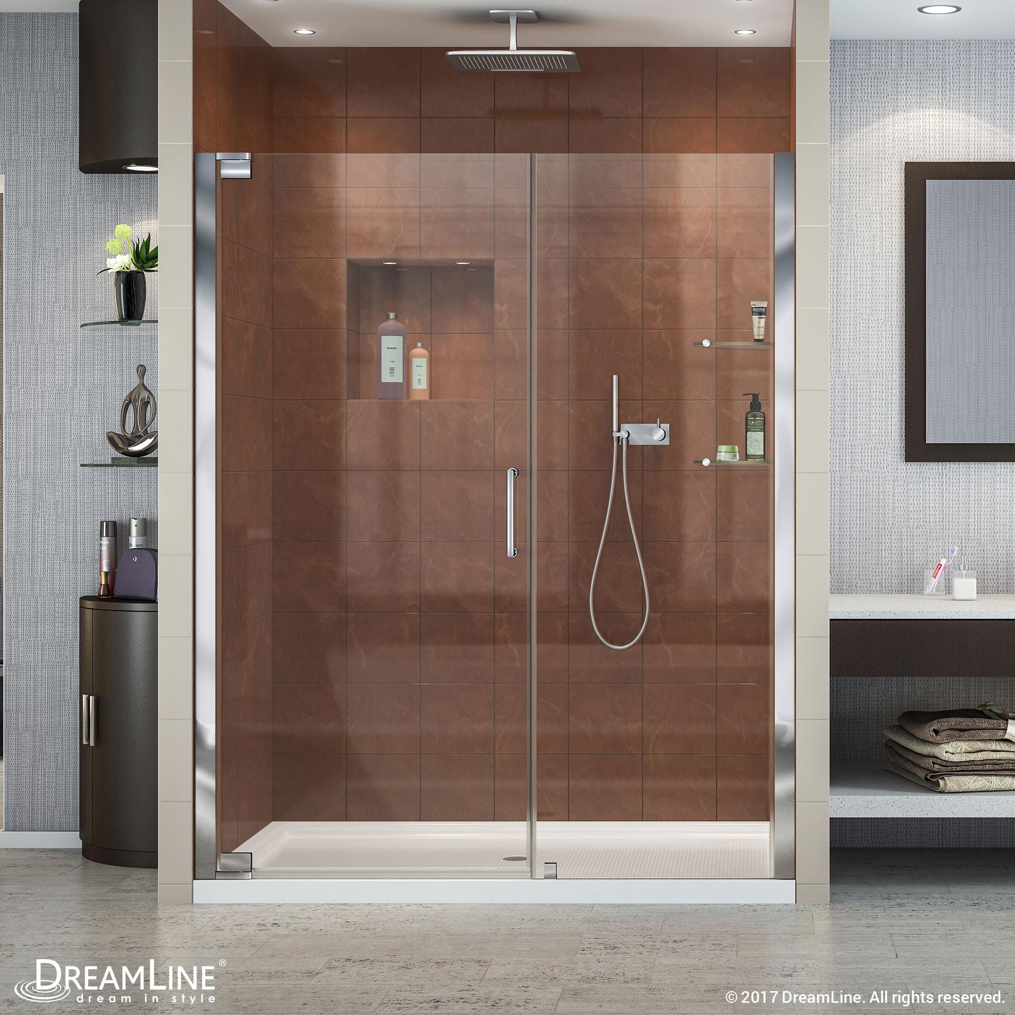 """Dreamline SHDR-4159720 Elegance 59 3/4 to 61 3/4"""" Frameless Pivot Shower Door"""