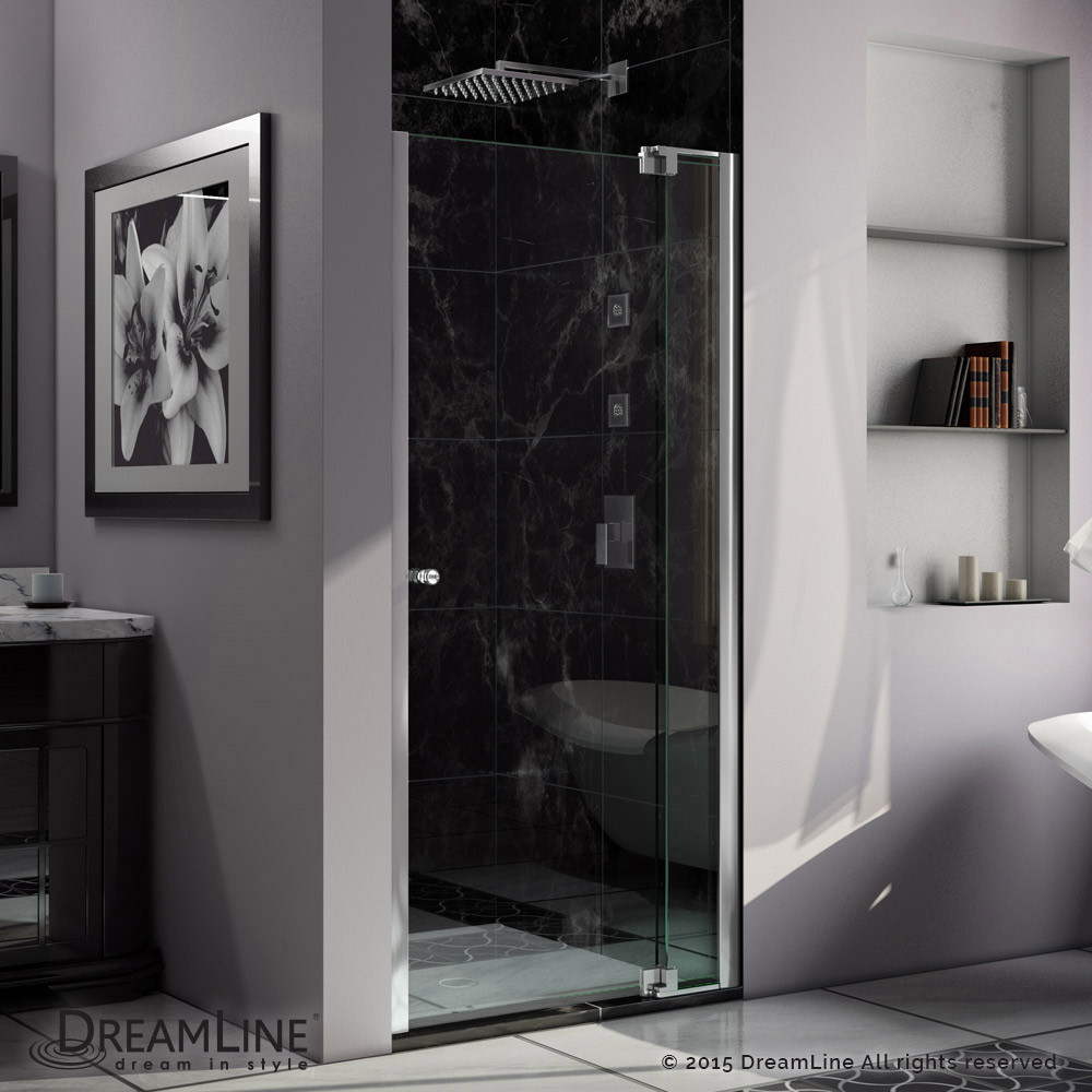 DreamLine SHDR-4237728-01 Allure 37 to 38 in. Frameless Pivot Clear Glass Shower Door In Chrome