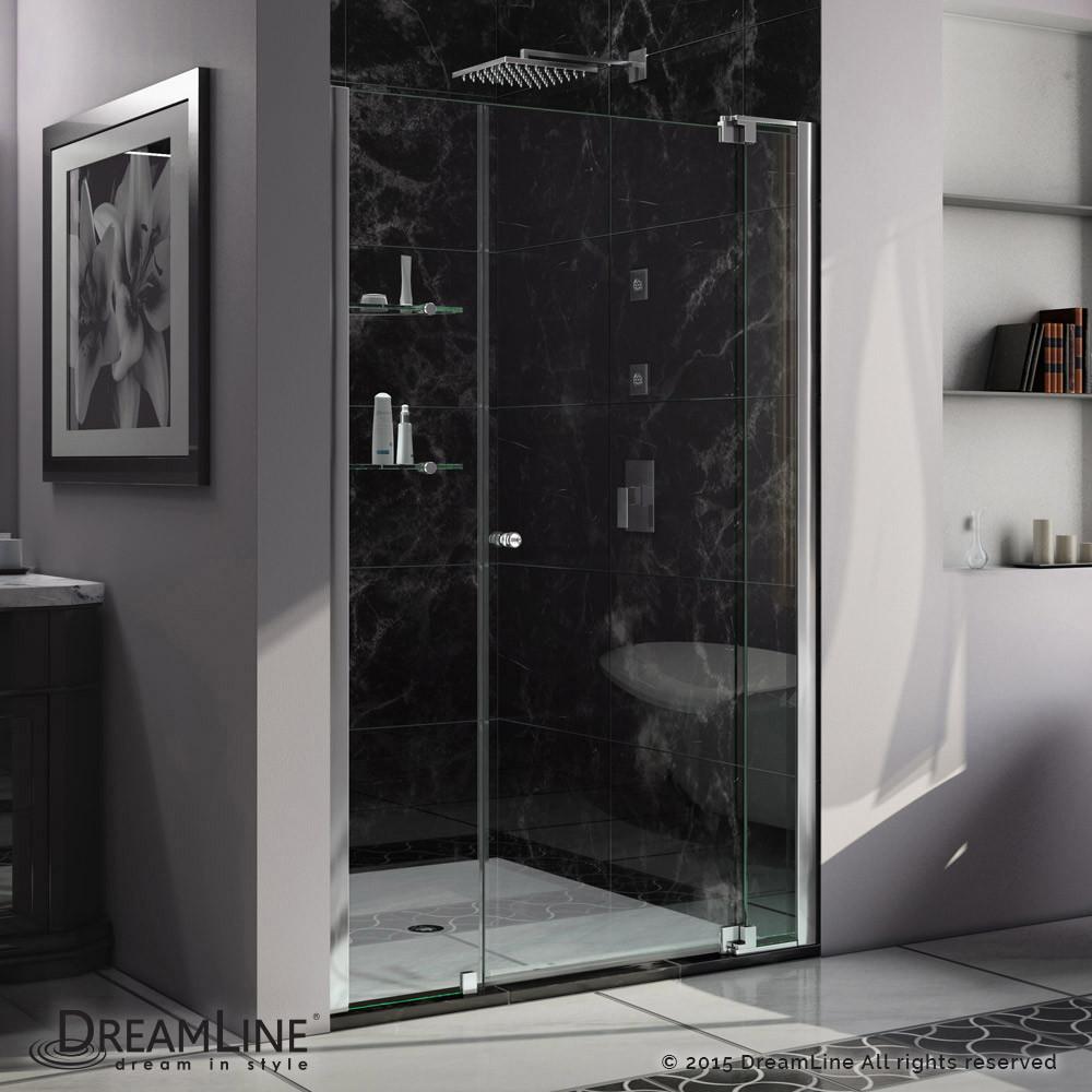 DreamLine SHDR-4243728-01 Allure 43 to 44 in. Frameless Pivot Clear Glass Shower Door In Chrome
