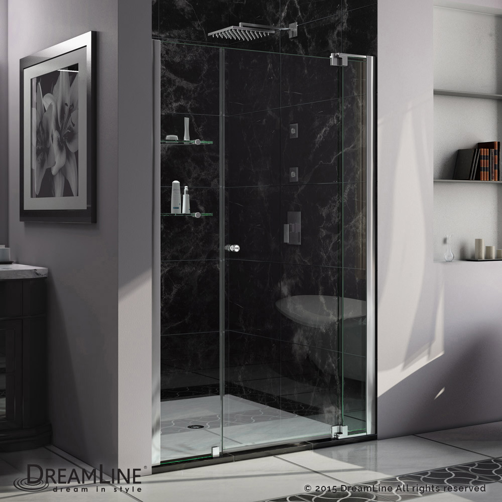 DreamLine SHDR-4253728-01 Allure 53 to 54 in. Frameless Pivot Clear Glass Shower Door In Chrome