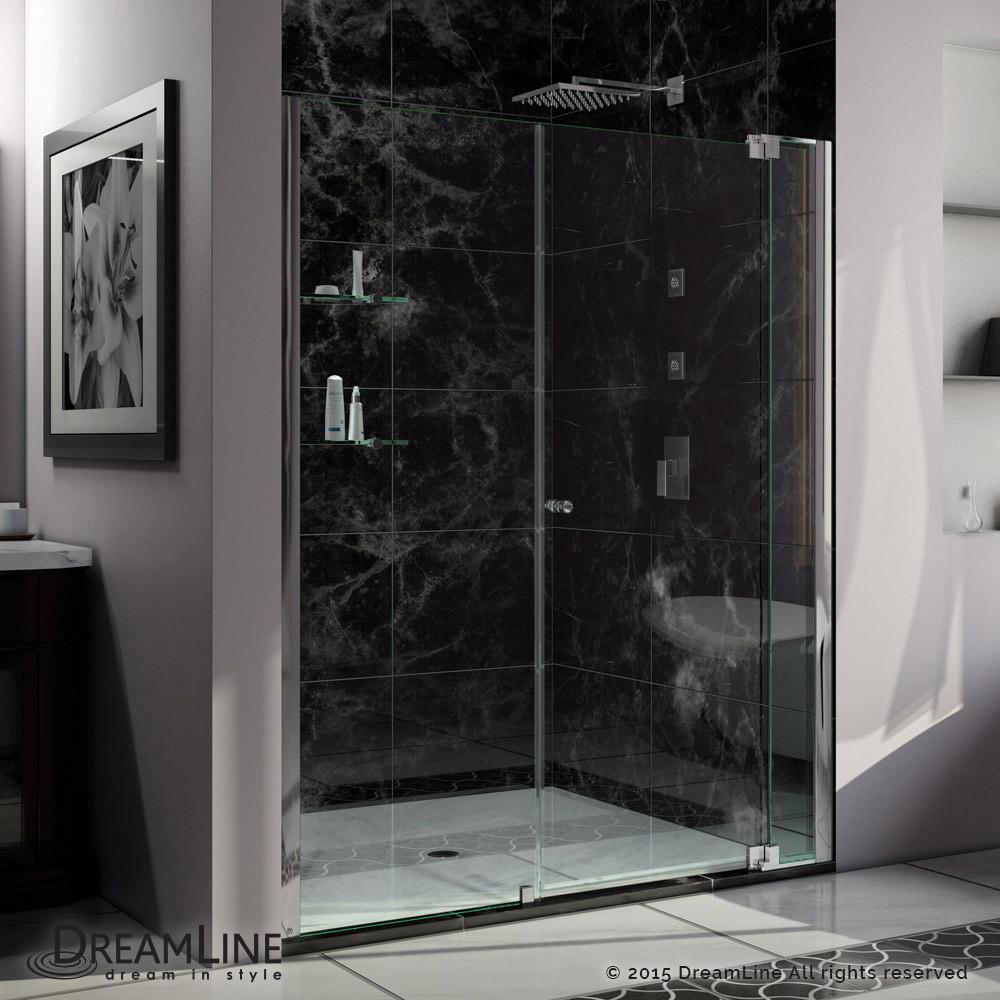 DreamLine SHDR-4257728-01 Allure 57 to 58 in. Frameless Pivot Clear Glass Shower Door In Chrome