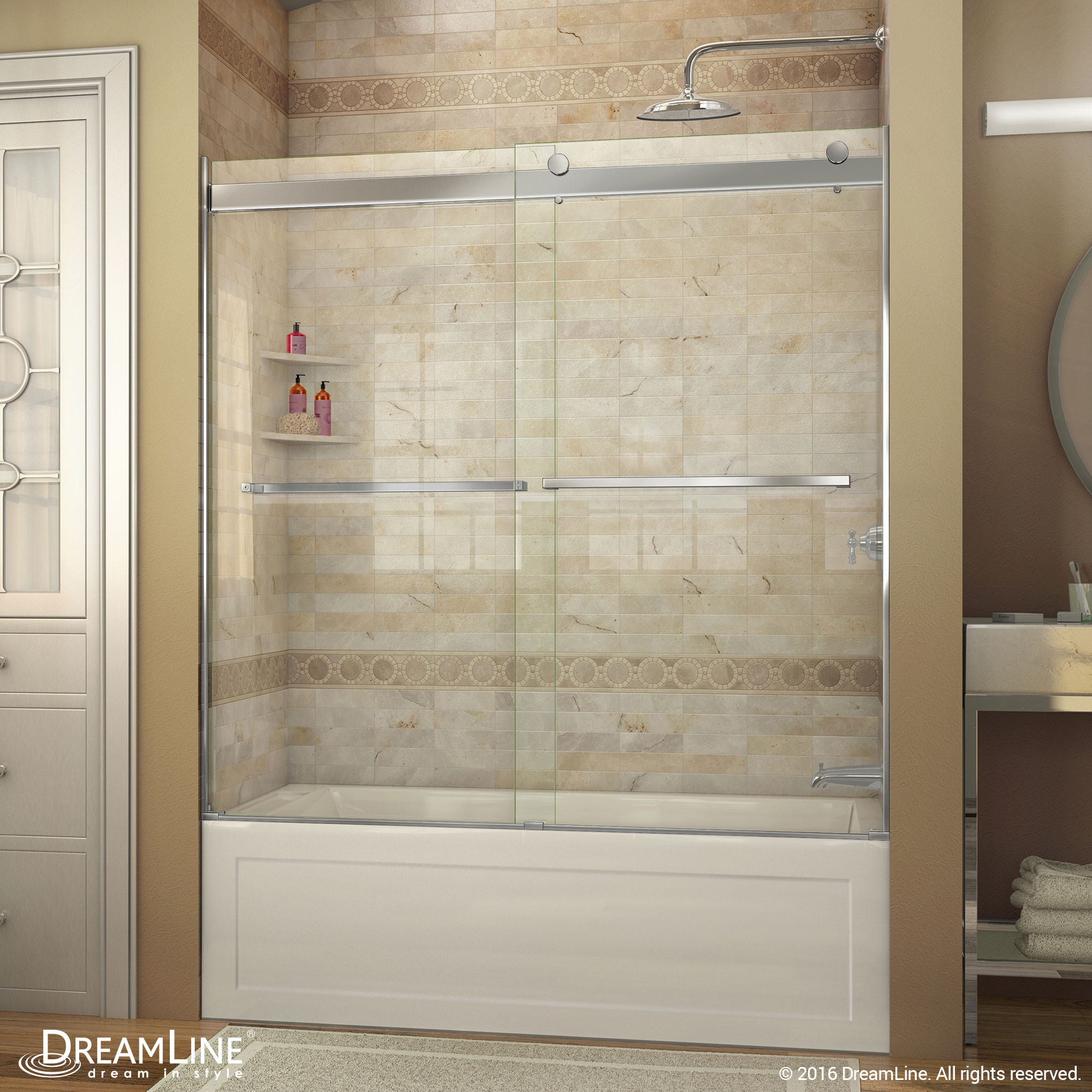 DreamLine SHDR-6360600-04 Brushed Nickel Essence 56 to 60 in. Frameless Bypass Tub Door