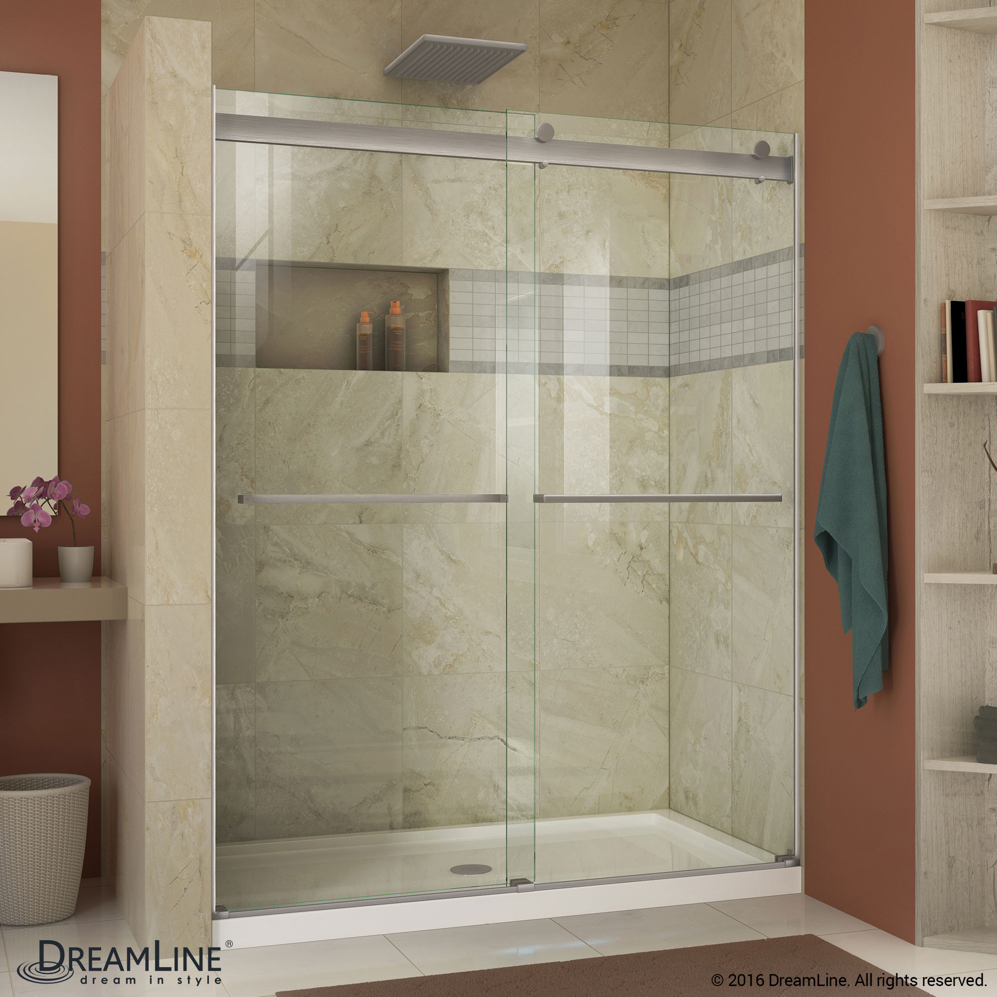 DreamLine SHDR-6360760-04 Brushed Nickel Essence 56 to 60 in. Frameless Bypass Shower Door