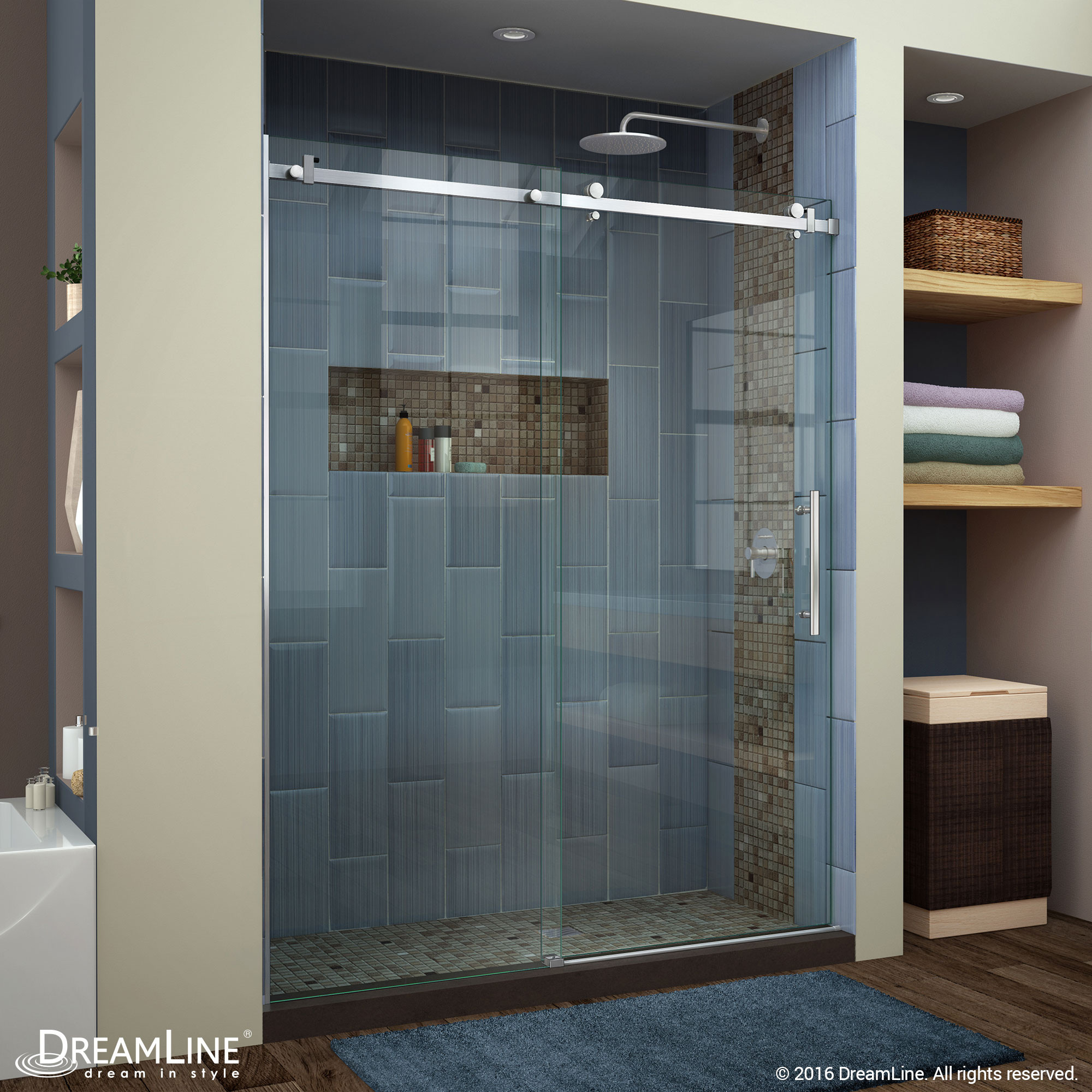 DreamLine SHDR-64607610-07 Brushed Stainless Steel Enigma Air Frameless Sliding Shower Door