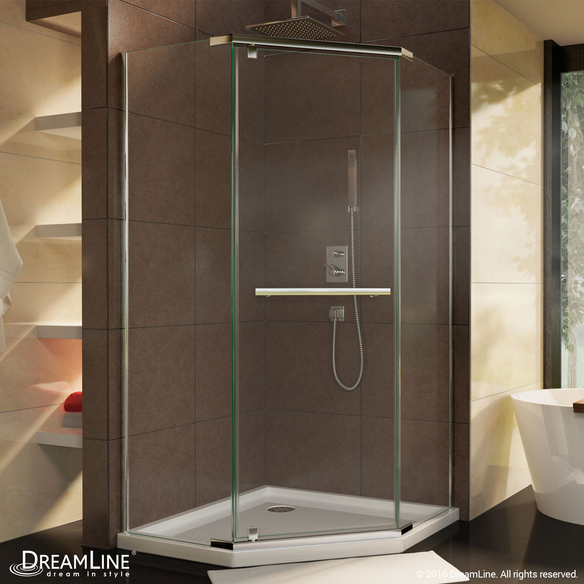 DreamLine SHEN-2138380-01 Chrome Prism 38-1/8 in. W x 38-1/8 in. D x 72 in. H Pivot Shower Enclosure
