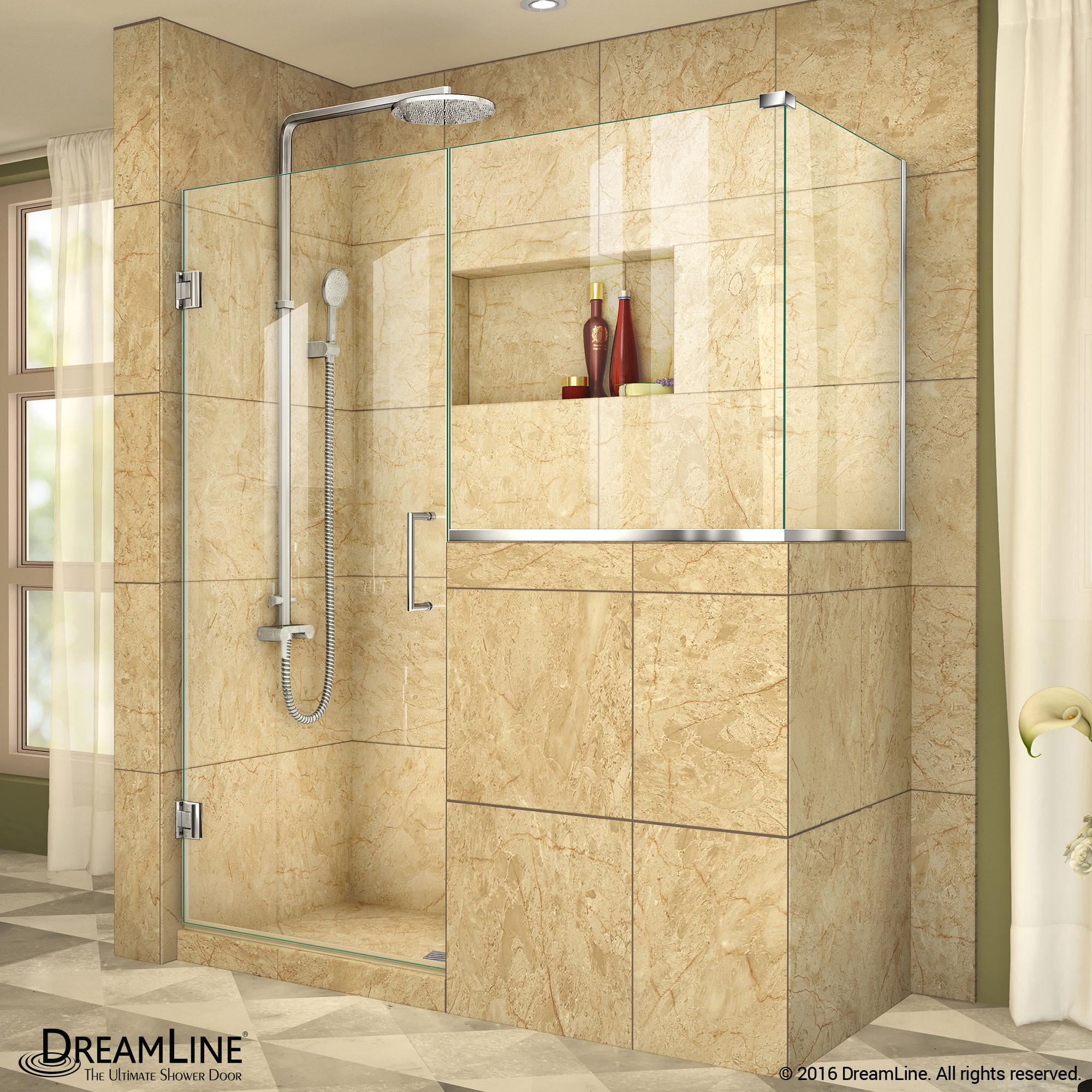 "DreamLine SHEN-2424303430-01 Unidoor Plus 54 x 30.375 x 72"" Hinged Shower Enclosure In Chrome Finish"