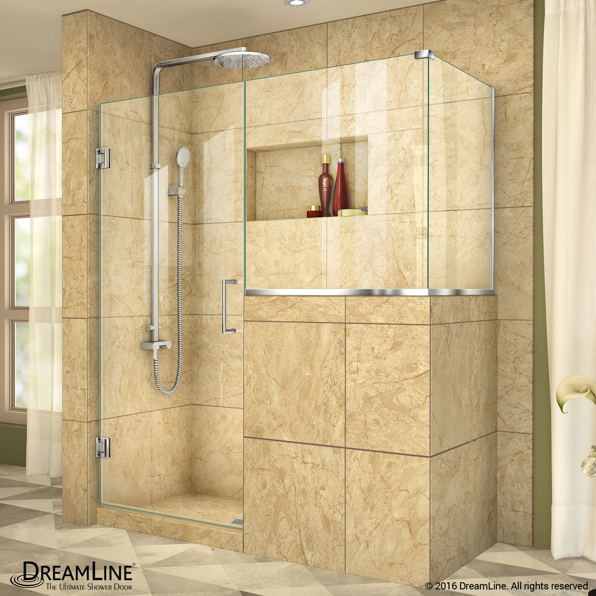 "DreamLine SHEN-2424303636-01 Unidoor Plus 54 x 36.375 x 72"" Hinged Shower Enclosure In Chrome Finish"