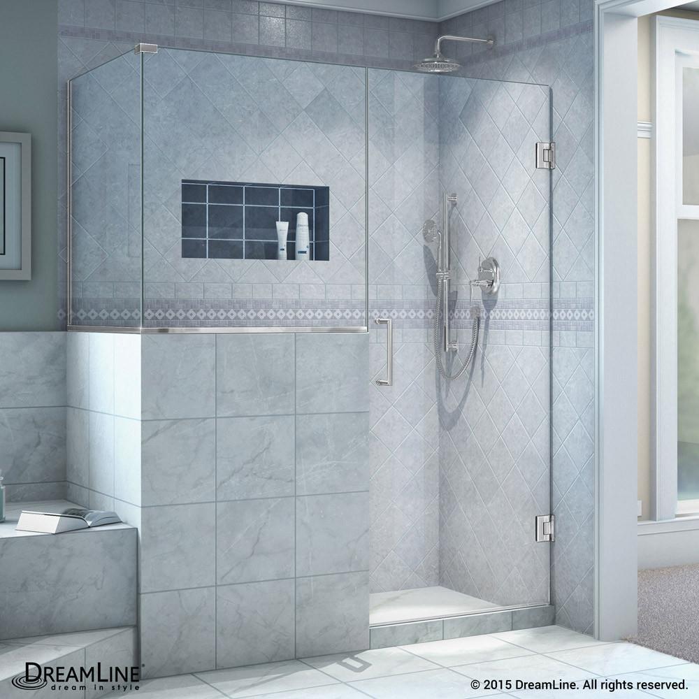 "DreamLine SHEN-2428303430-01 Unidoor Plus 58 x 30.375 x 72"" Hinged Shower Enclosure In Chrome Finish"