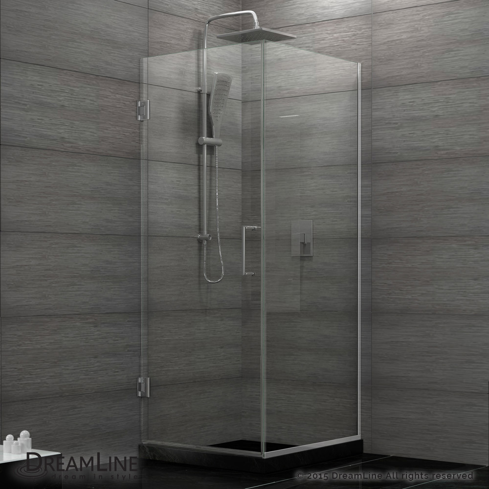 DreamLine SHEN-24300300F-01 Unidoor Plus Hinged Shower Enclosure In Chrome Finish Hardware