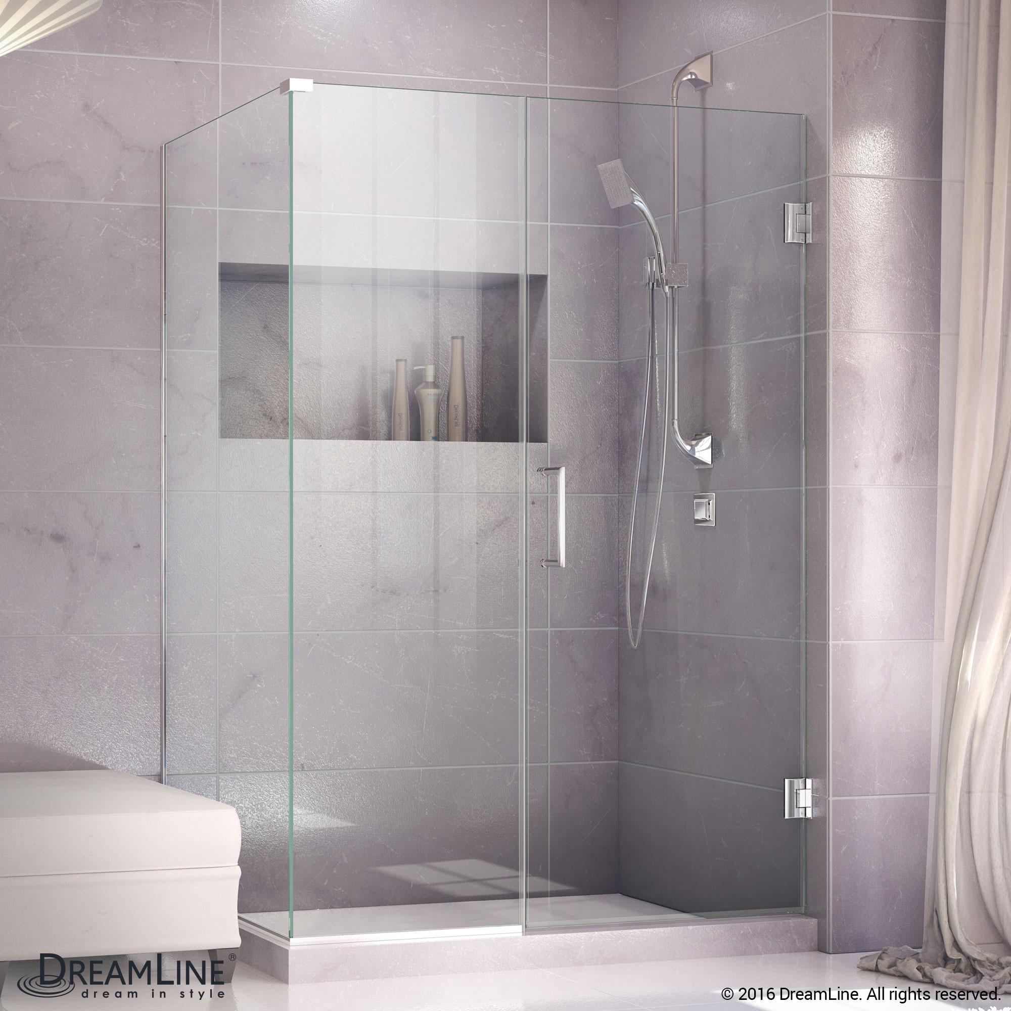 DreamLine SHEN-24300340-01 Unidoor Plus Hinged Shower Enclosure In Chrome Finish Hardware